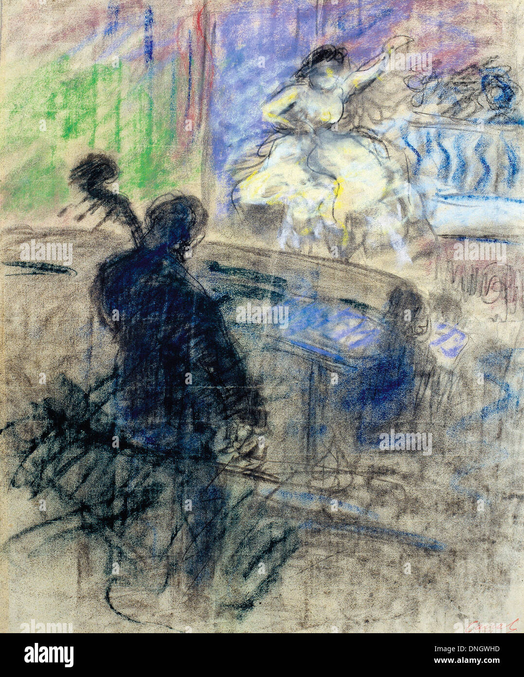 Ricard Canals, Music Hall Interior 1897-1899 Pastel and charcoal on paper. Museu Nacional d'Art de Catalunya, Barcelona, Stock Photo