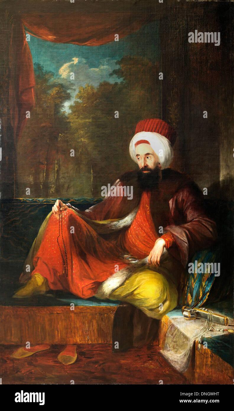Carl Frederik von Breda, Yusuf Agah Efendi. Late 19th Century. Oil on canvas. Pera Museum, Istanbul, Turkey. - Stock Image