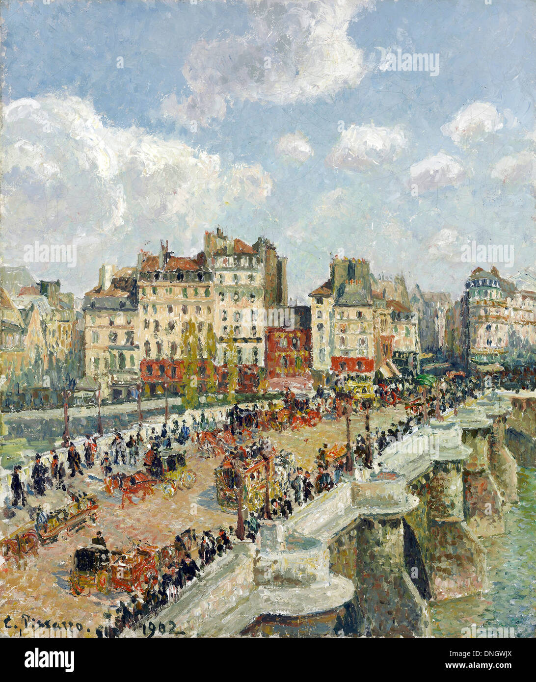Camille Pissarro, The Pont-Neuf 1902 Oil on canvas. Museum of Fine Arts, Budapest, Hungary. - Stock Image