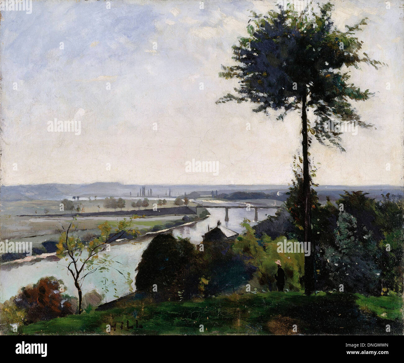 Carl Fredrik Hill, The Tree and the River III. 1877 Oil on canvas. Nationalmuseum, Stockholm, Sweden. Stock Photo