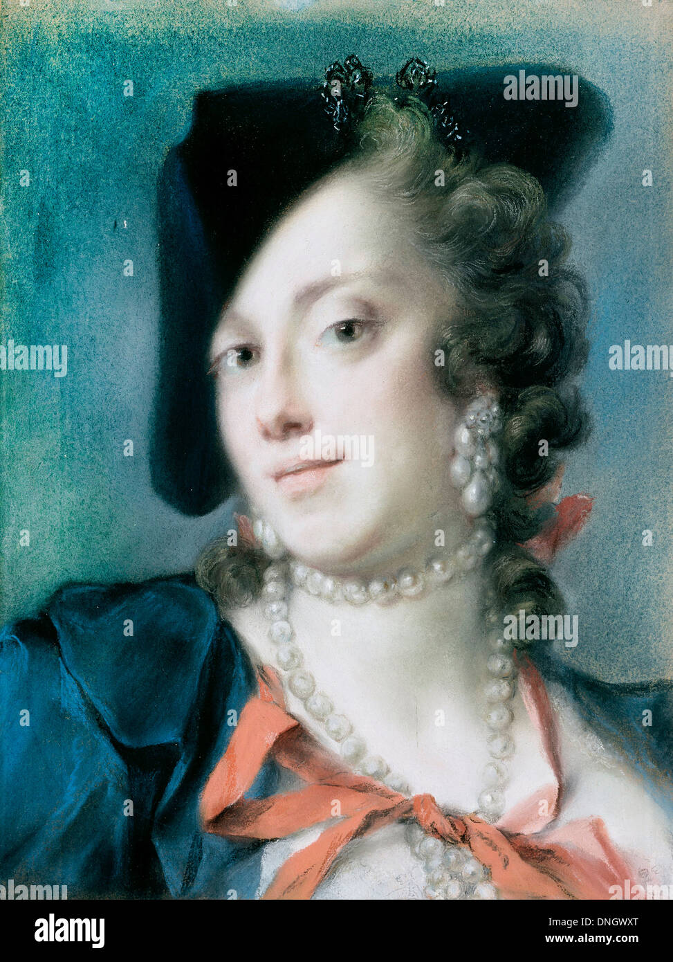 Rosalba Carriera, A Venetian Lady from the House of Barbarigo 1735 - 1740 Pastel on paper. Gemaldegalerie Alte Meister, Dresden - Stock Image