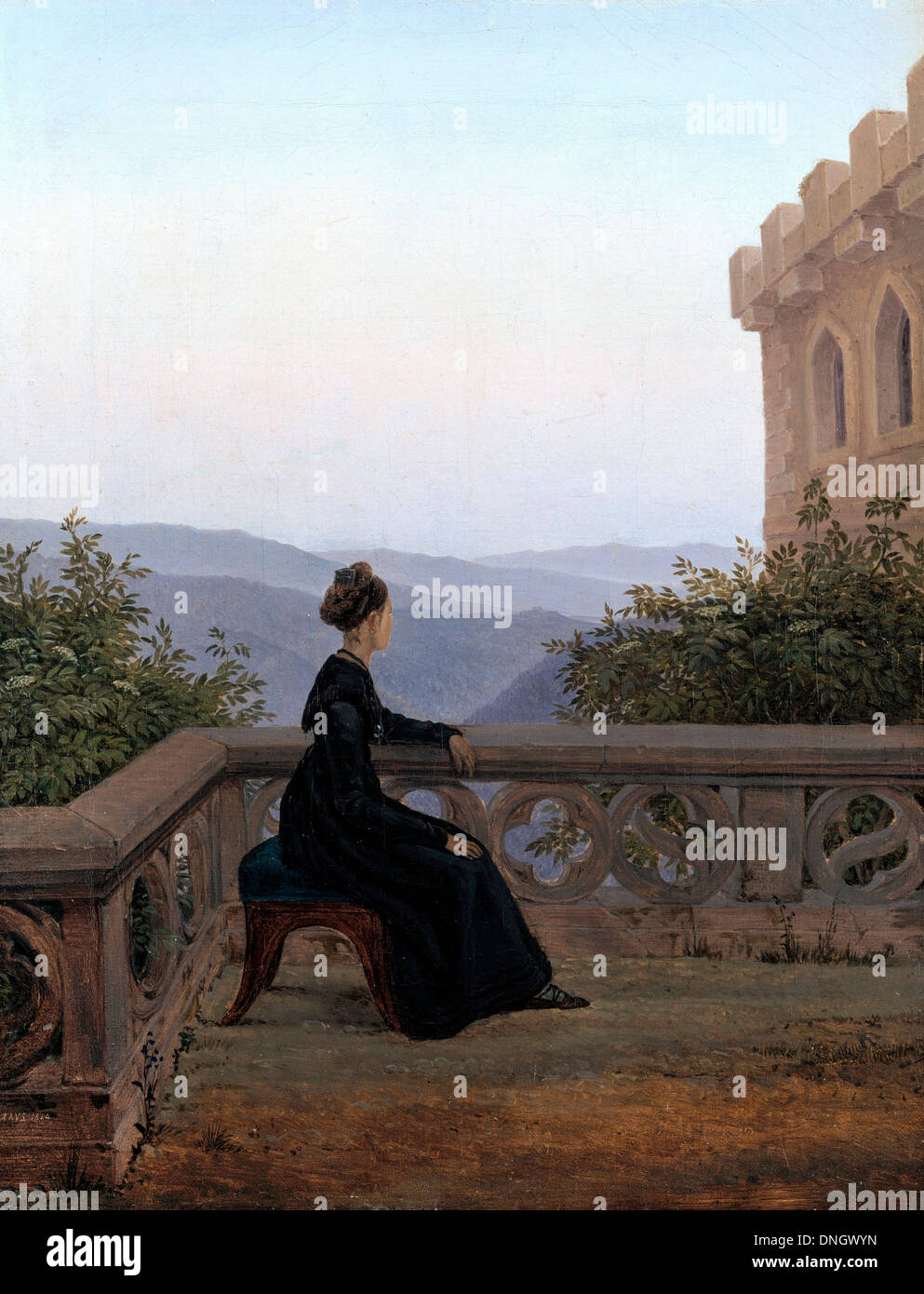 Carl Gustav Carus, Woman on the Balcony 1824 Oil on canvas. New Masters Gallery, Dresden, Germany. - Stock Image
