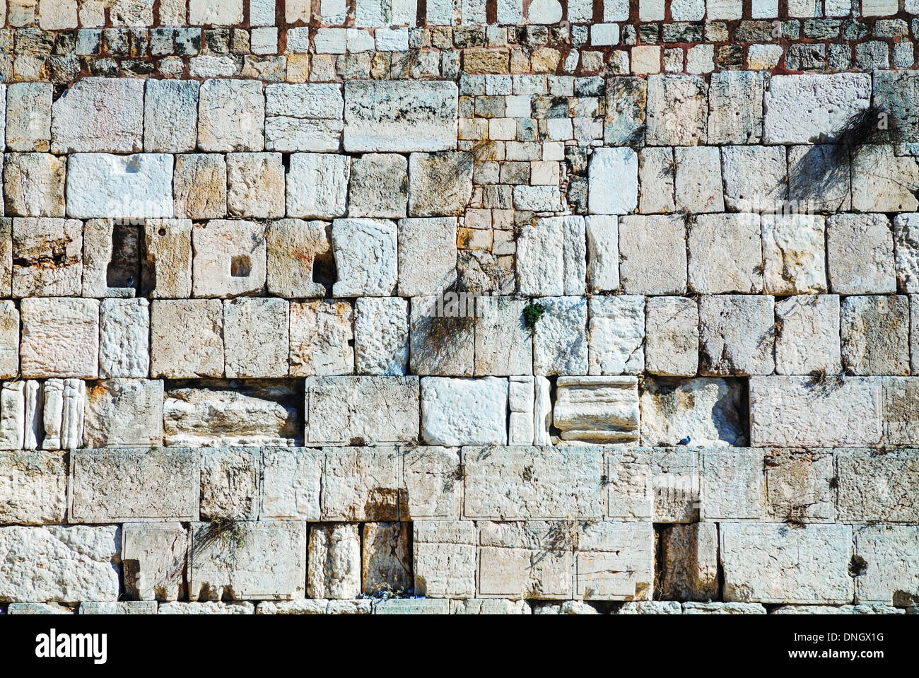 Rocks of the Wailing wall close up in Jerusalem, Israel - Stock Image
