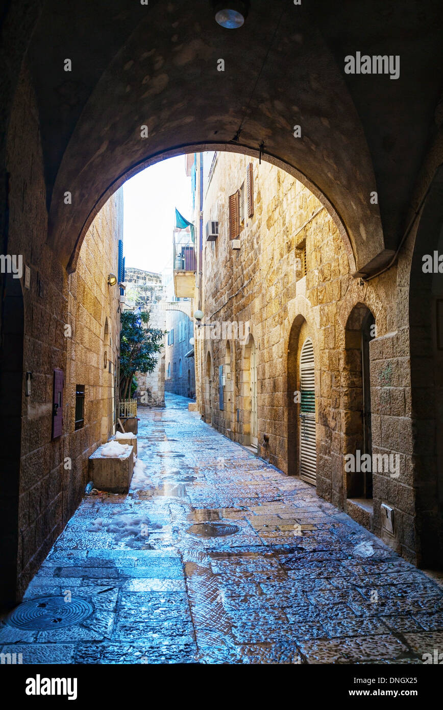 Narrow street in Old City of Jerusalem, Israel - Stock Image