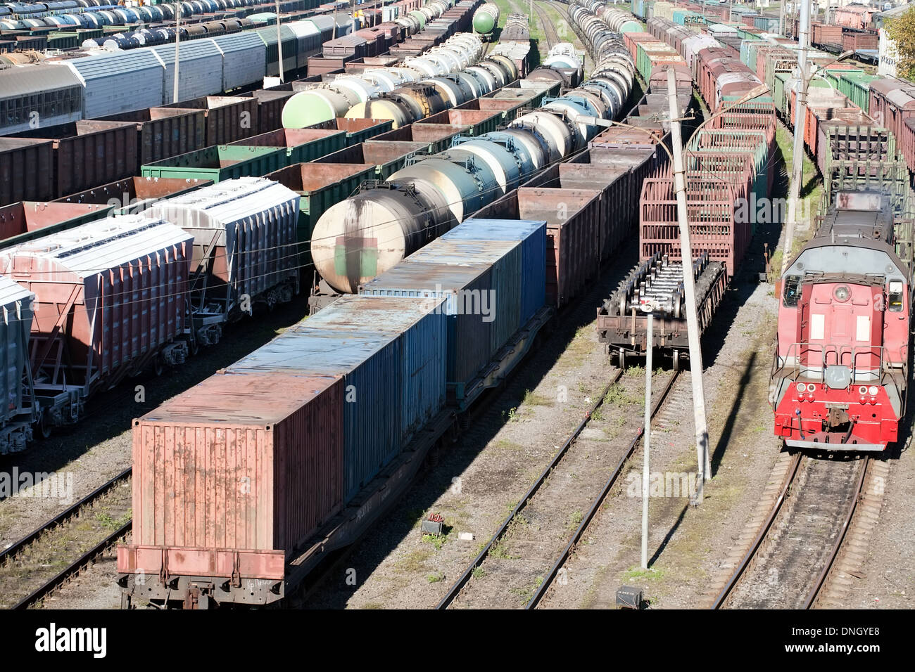 industrial view with lot of freight railway trains waggons - Stock Image