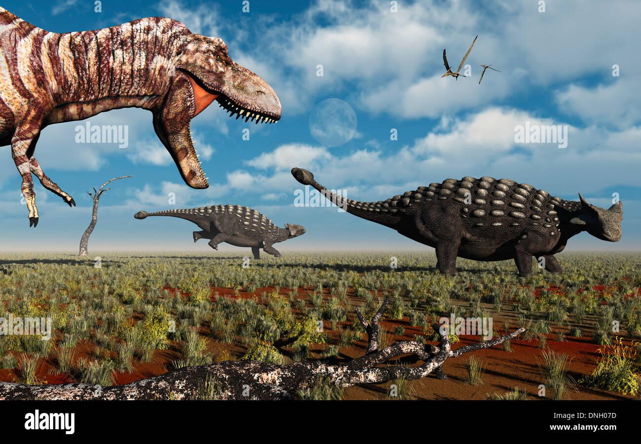 A T.Rex Hunting A Pair Of Ankylosaurus.2.. Stock Photo