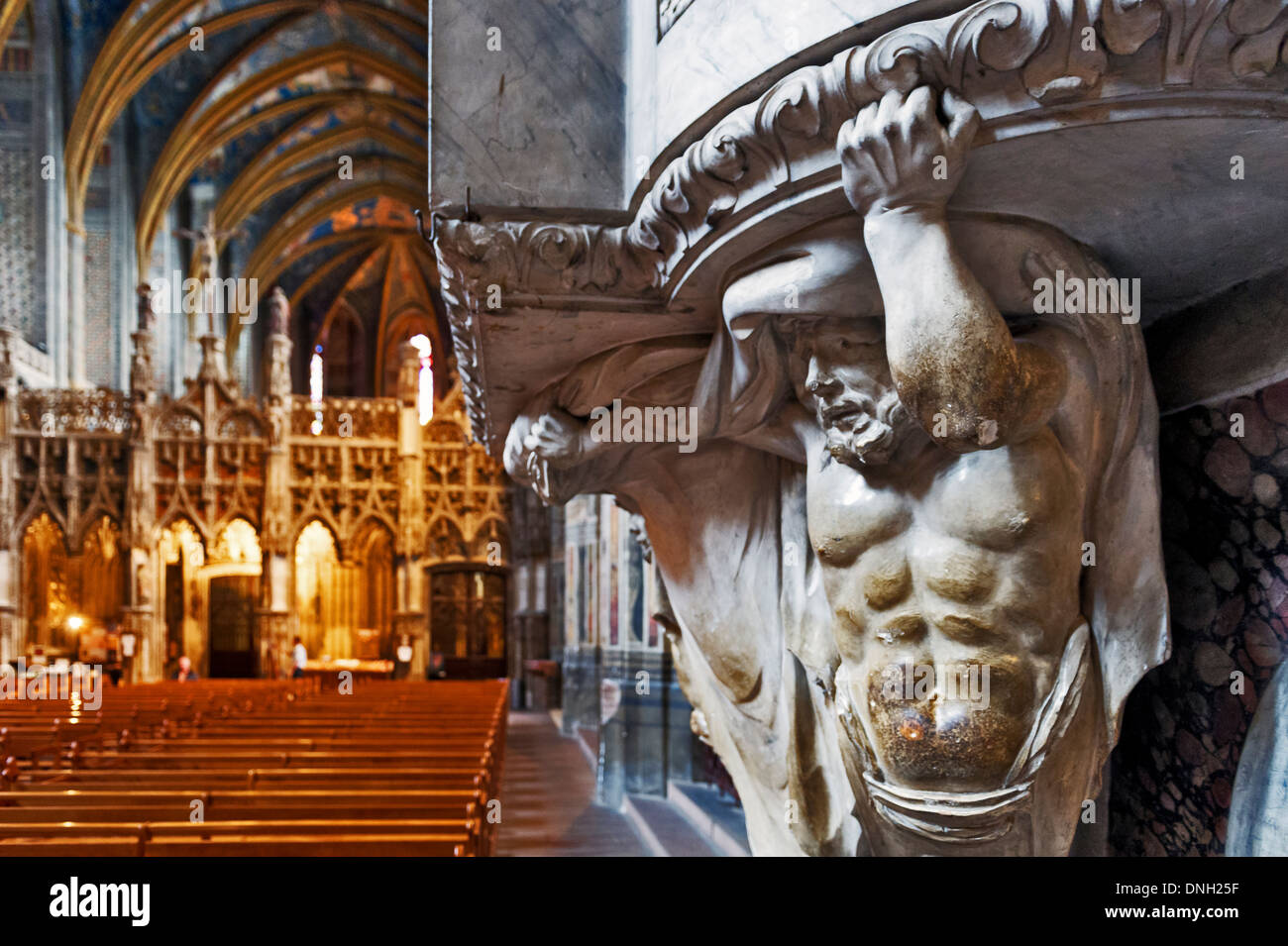 Europe, France, Tarn, Albi. Episcopal city, classified as UNESCO World Heritage. Cathedral Sainte-Cecile. Caryatid. - Stock Image