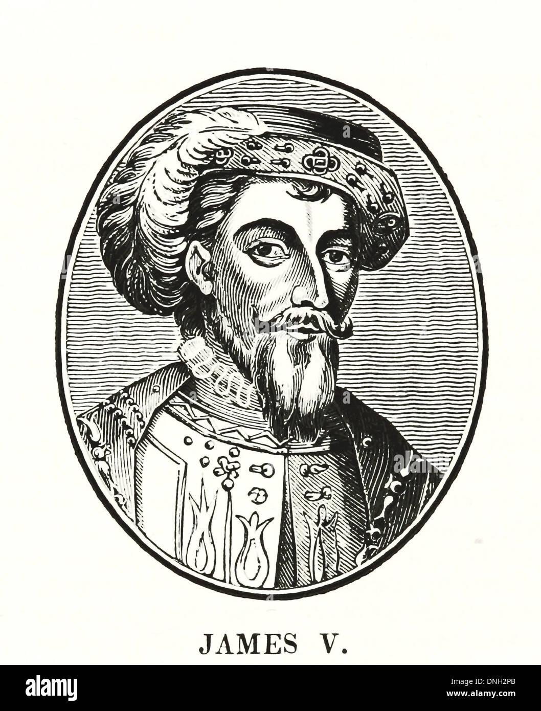 James V - King of Scots James V (10 April 1512 – 14 December 1542) was King of Scots from 9 September 1513 until his death - Stock Image
