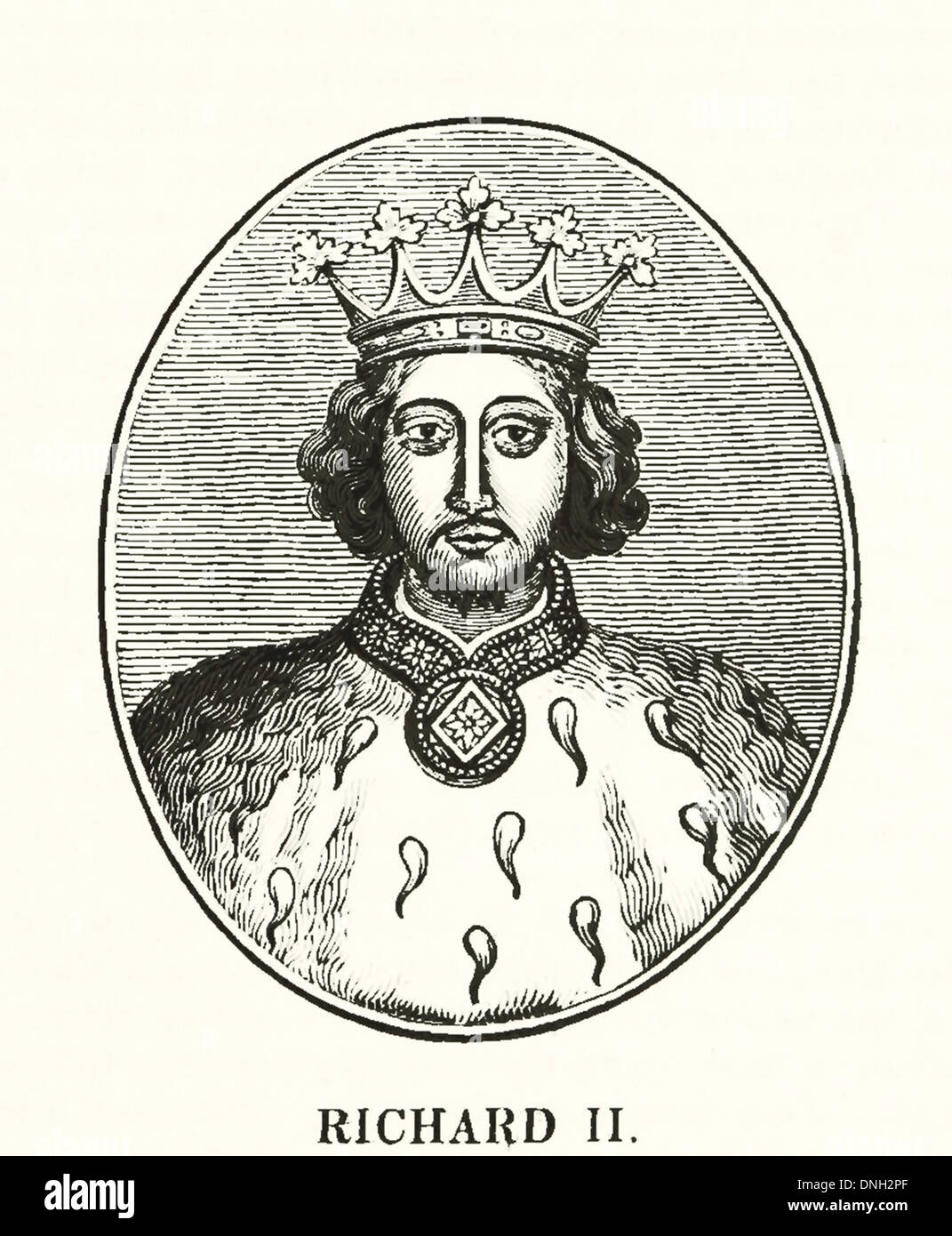 Richard II (6 January 1367 – ca. 14 February 1400) was King of England from 1377 until he was deposed in 1399 - Stock Image
