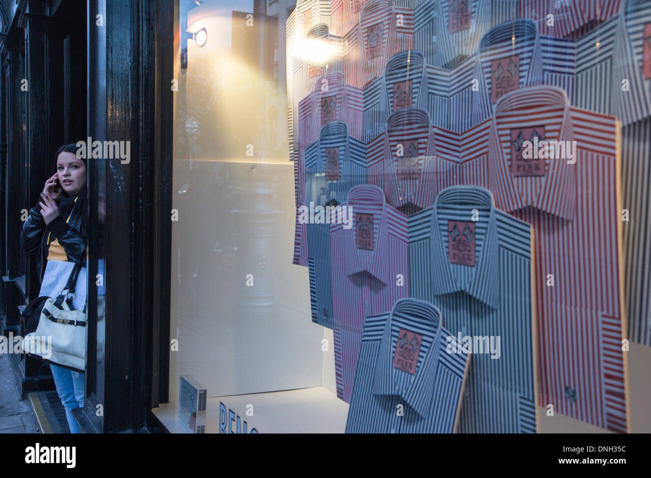 BENGAL STRIPES SHIRT SHOP, THE DAWSON STREET SHOPPING AREA, DUBLIN, IRELAND - Stock Image