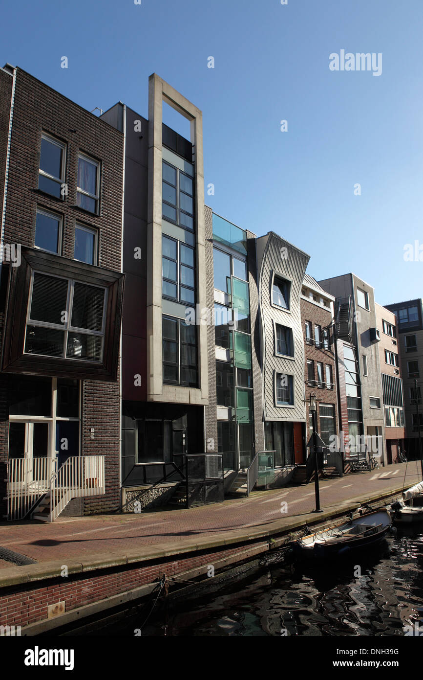 Contemporary building facades on Java Eiland (Java Island) in Amsterdam, Netherlands. - Stock Image