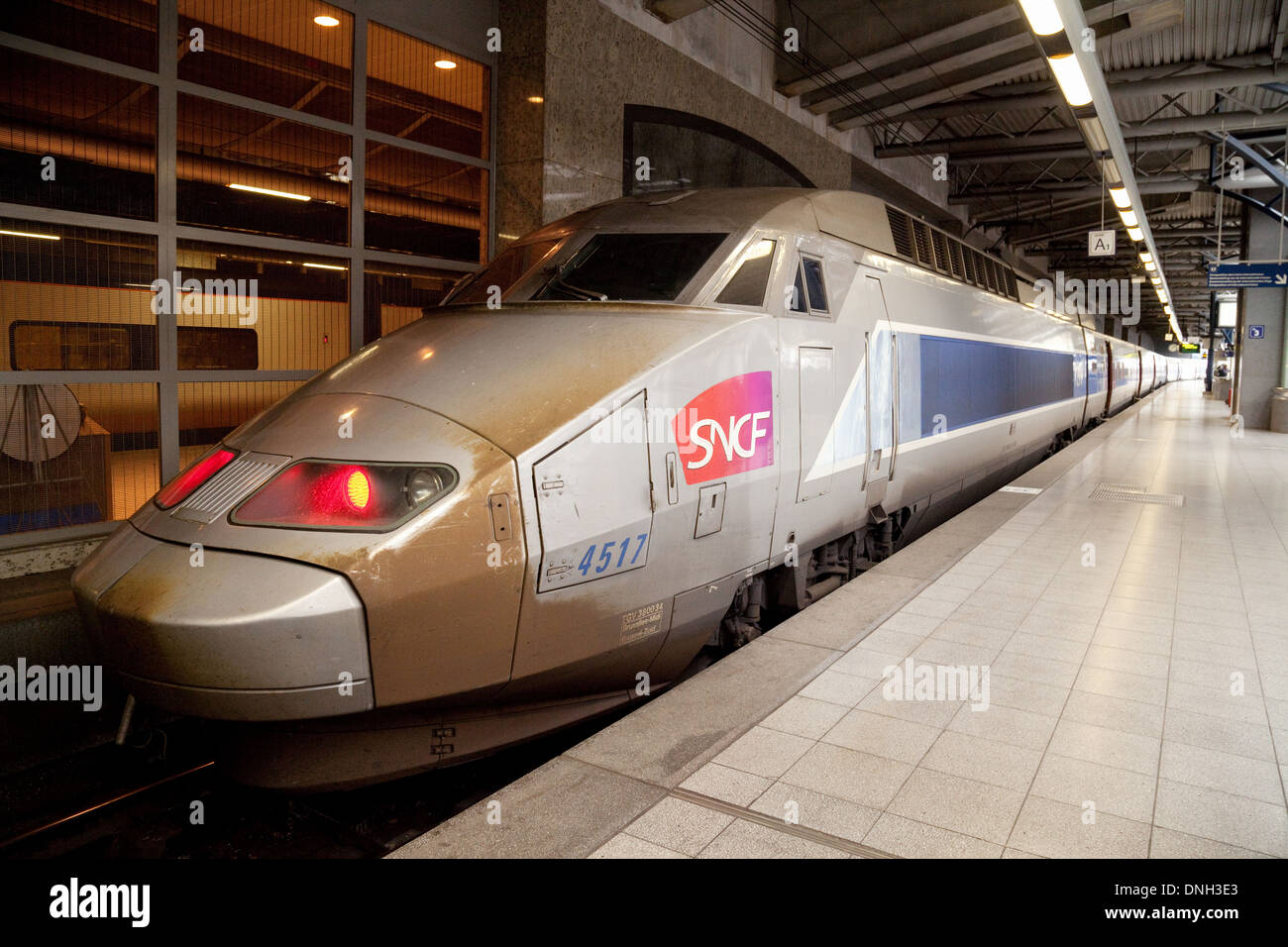 A french SNCF high speed train at the platform, Bruxelles Midi railway station, Brussels, Belgium, Europe - Stock Image