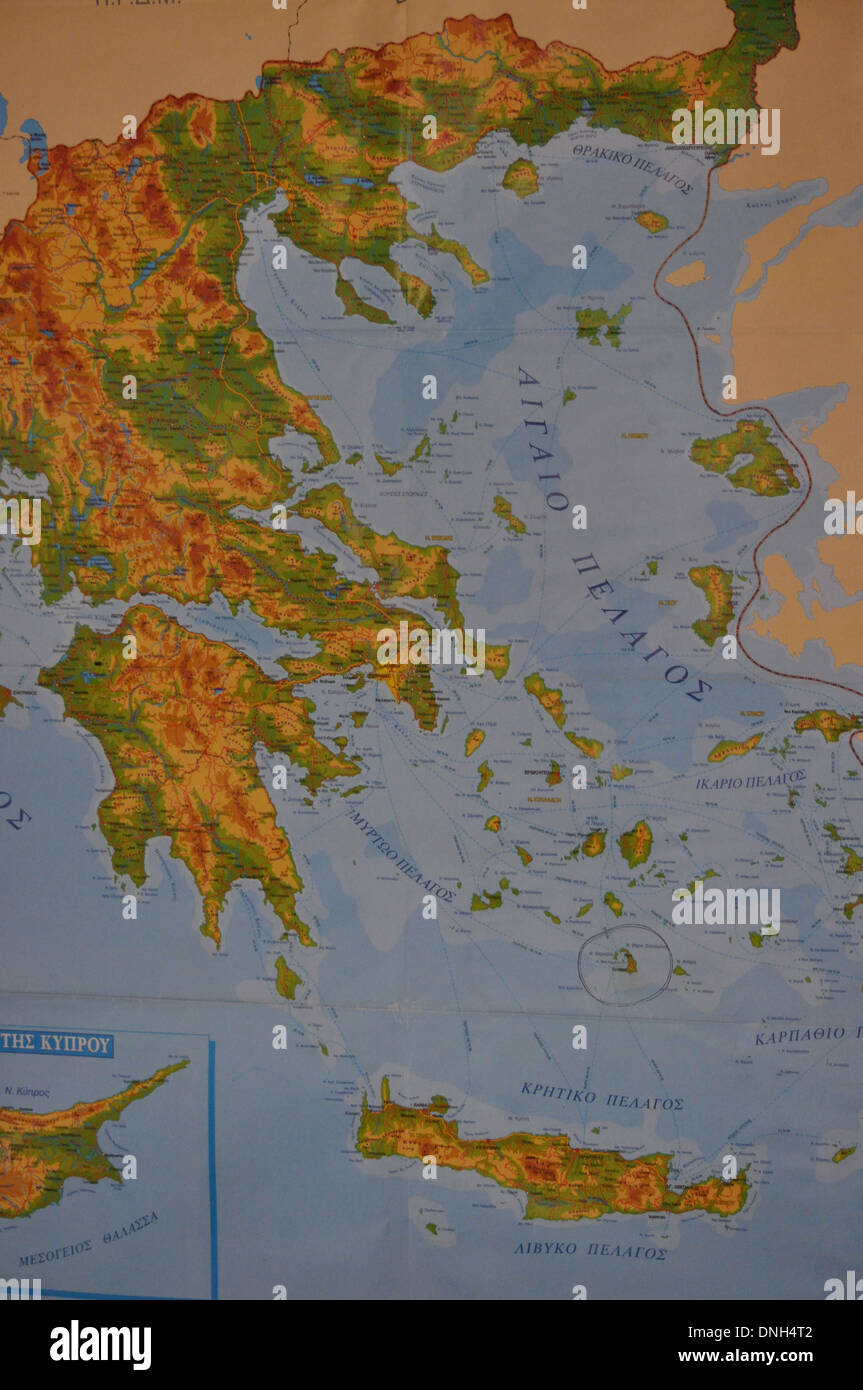 Greek islands map stock photos greek islands map stock images alamy map of greece and greek islands stock image gumiabroncs Choice Image