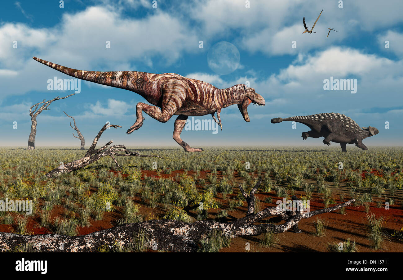 A T.Rex Giving Chase To An Ankylosaurus Stock Photo