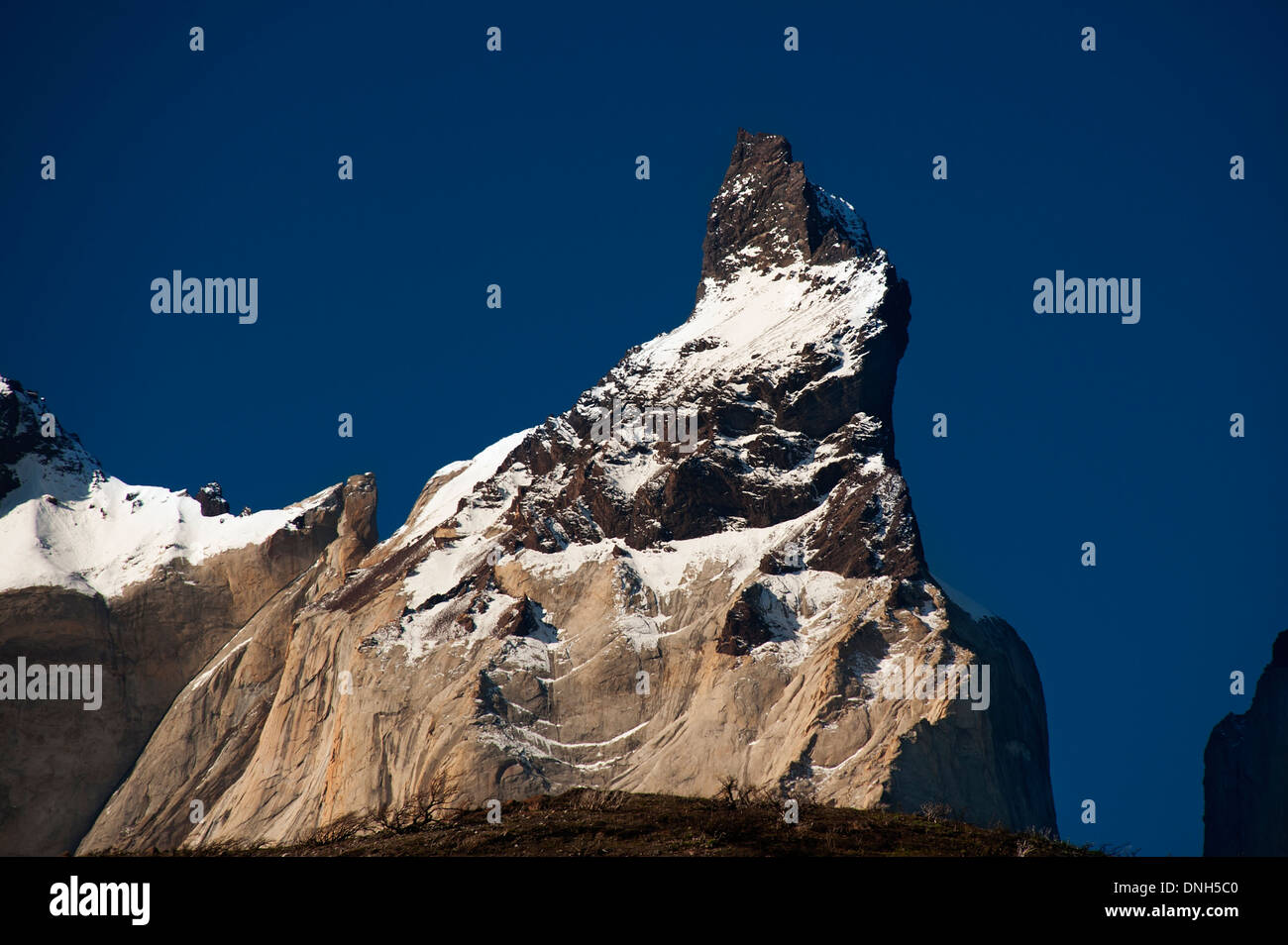 Summit of the Cuerno Principa peak from Cuernos del Paine group - Stock Image