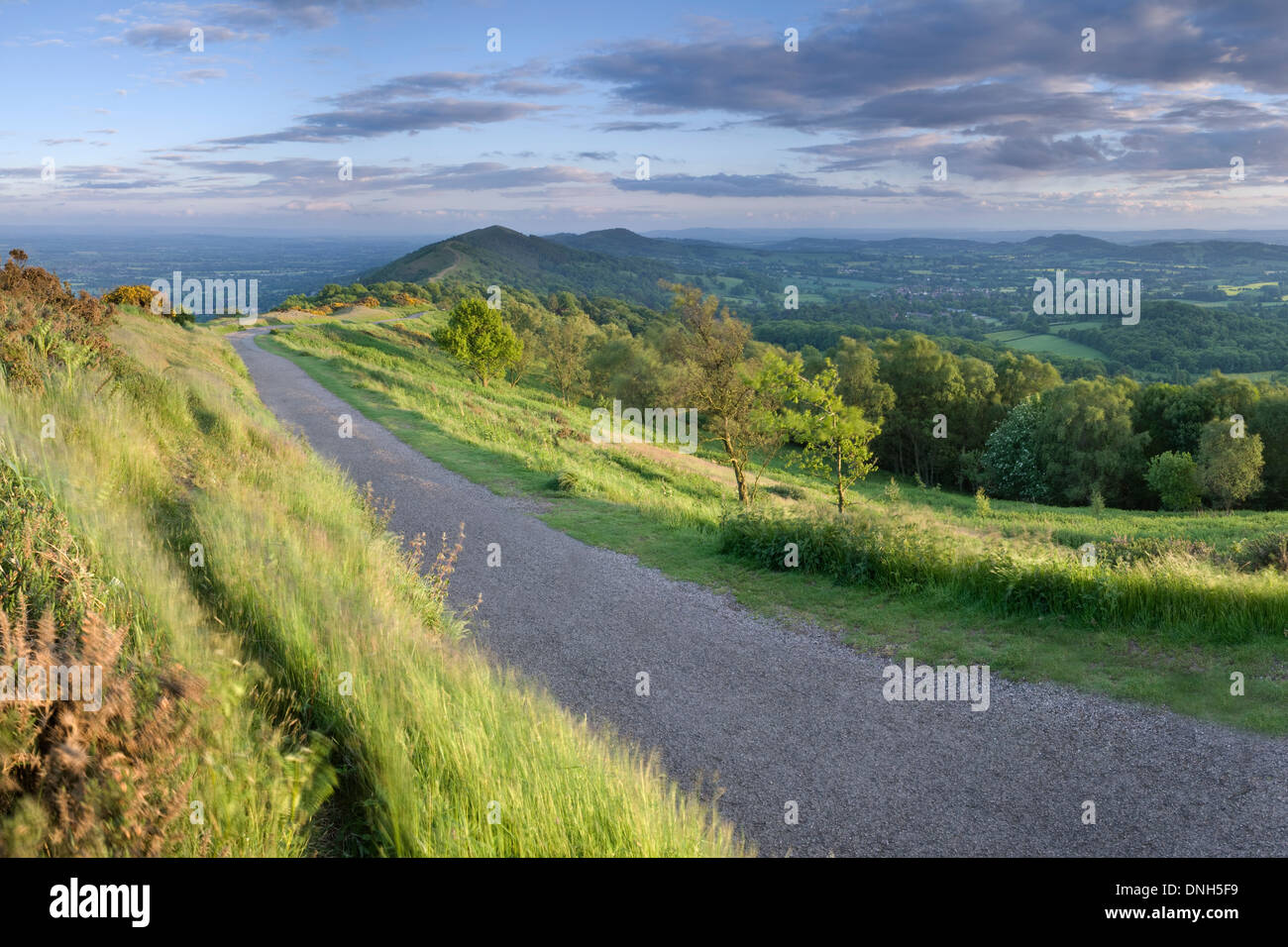 The path leading to the Worcestershire Beacon, on the Malvern Hills from Summer Hill at sunset. Stock Photo