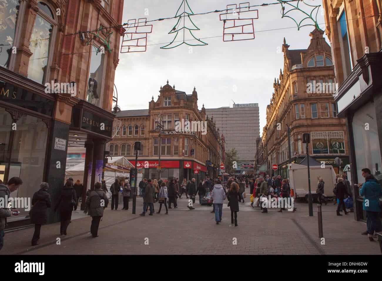 Leeds city centre high street at dusk - Stock Image