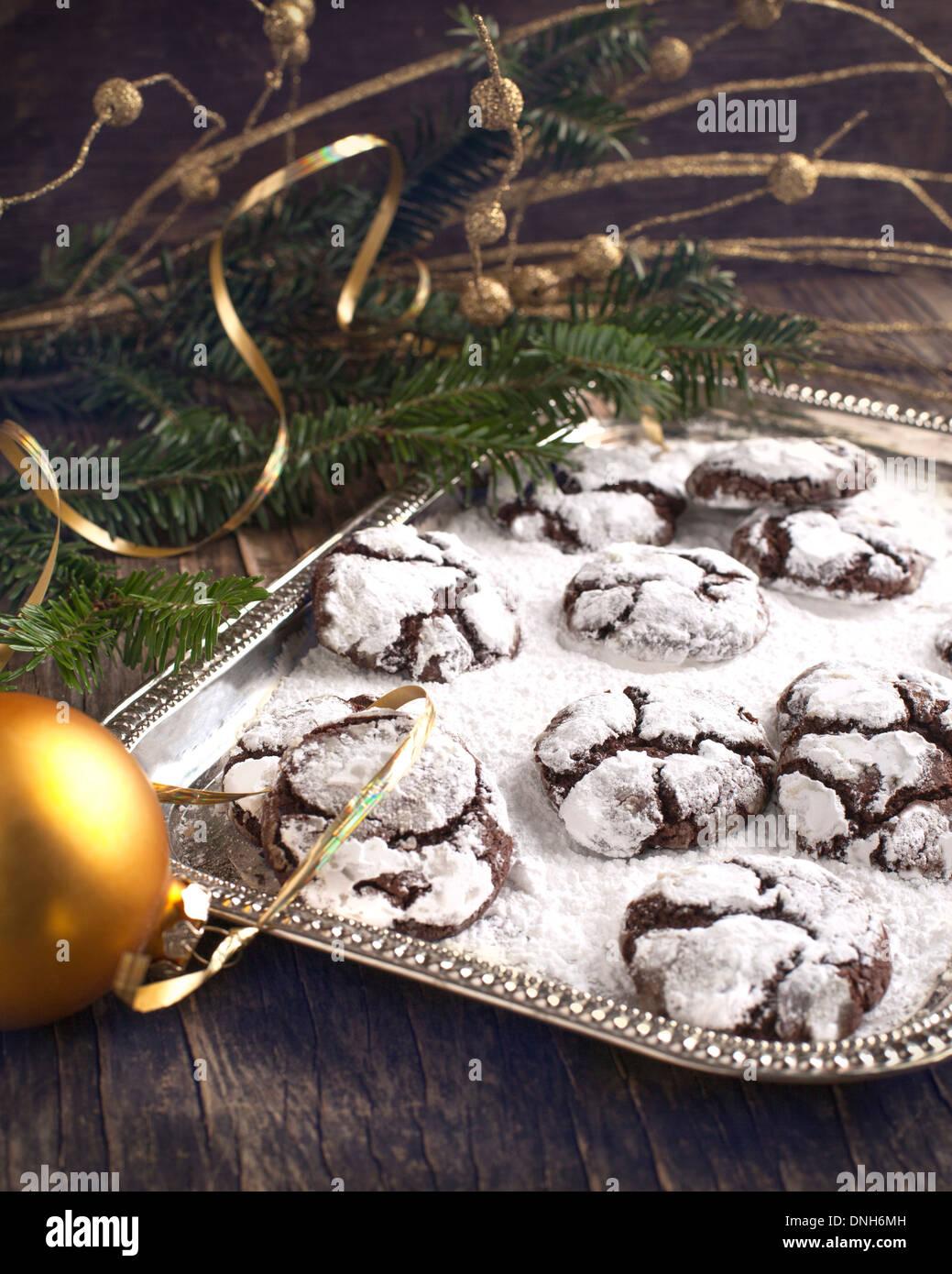 Chocolate Crinkles Chocolate Cookies In Powdered Sugar Stock Photo
