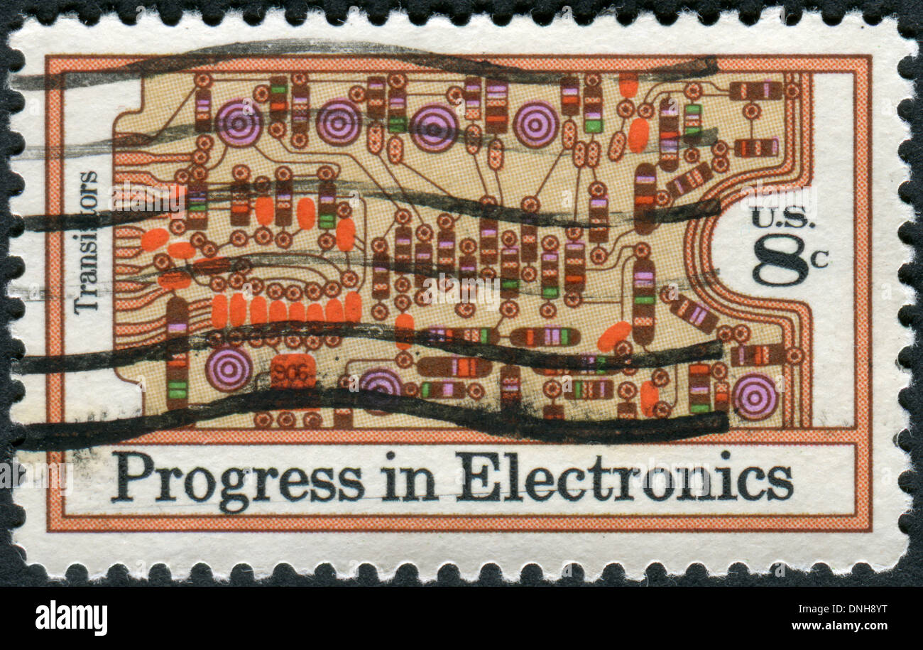 USA - CIRCA 1973: A postage stamp printed in USA, shows Transistors and Printed Circuit Board, circa 1973 Stock Photo
