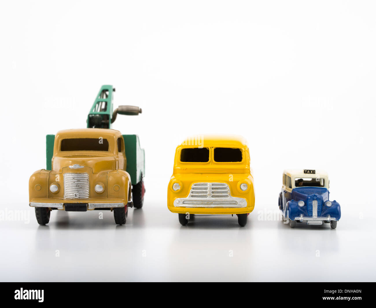 Meccano / Dublo Dinky diecast Cars. Recovery Truck / Bedford Van / Austin Taxi Stock Photo