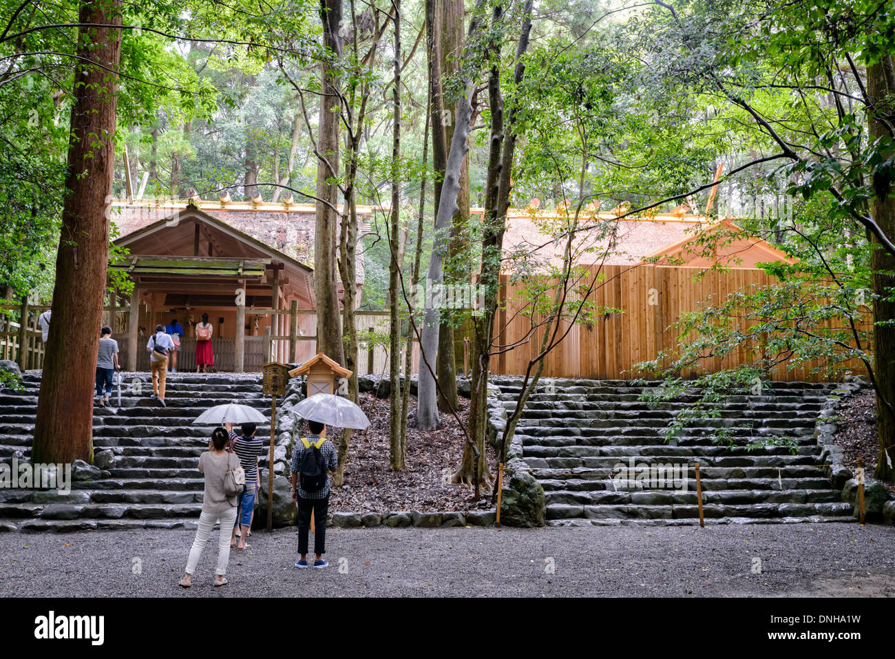 Ise Jingu, or Ise Grand Shrine, which is re-built every 20 years. This shows both old and new versions of the same building. - Stock Image