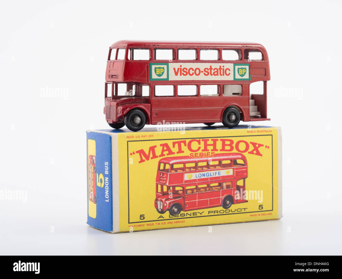 Matchbox Die-cast Toy Cars - #5 Routemaster Red Double Decker Bus Produced by Lesney Products United Kingdom from 1953 onwards. - Stock Image