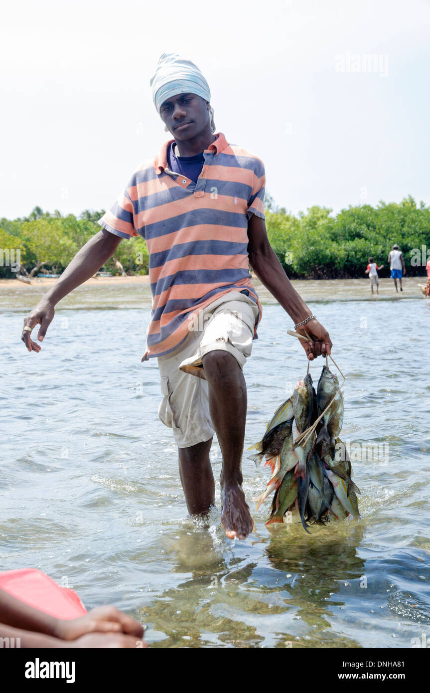 Young man wades through shallow water from shore to a waiting boat, carrying freshly caught fish to market. - Stock Image