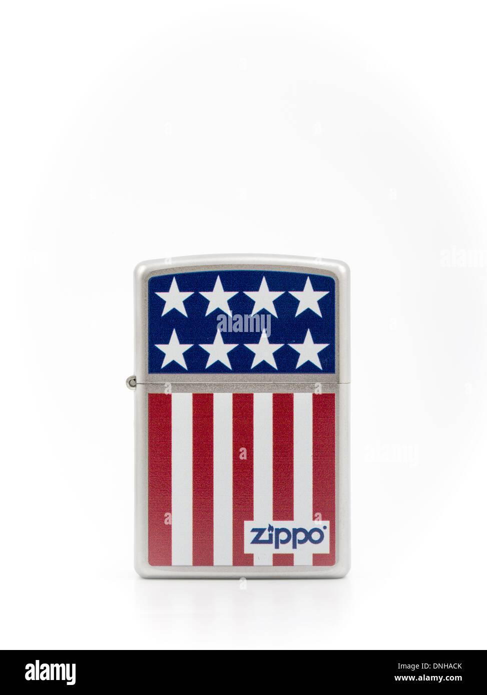 Zippo iconic cigarette lighter made in the USA Stars & Stripes design - Stock Image