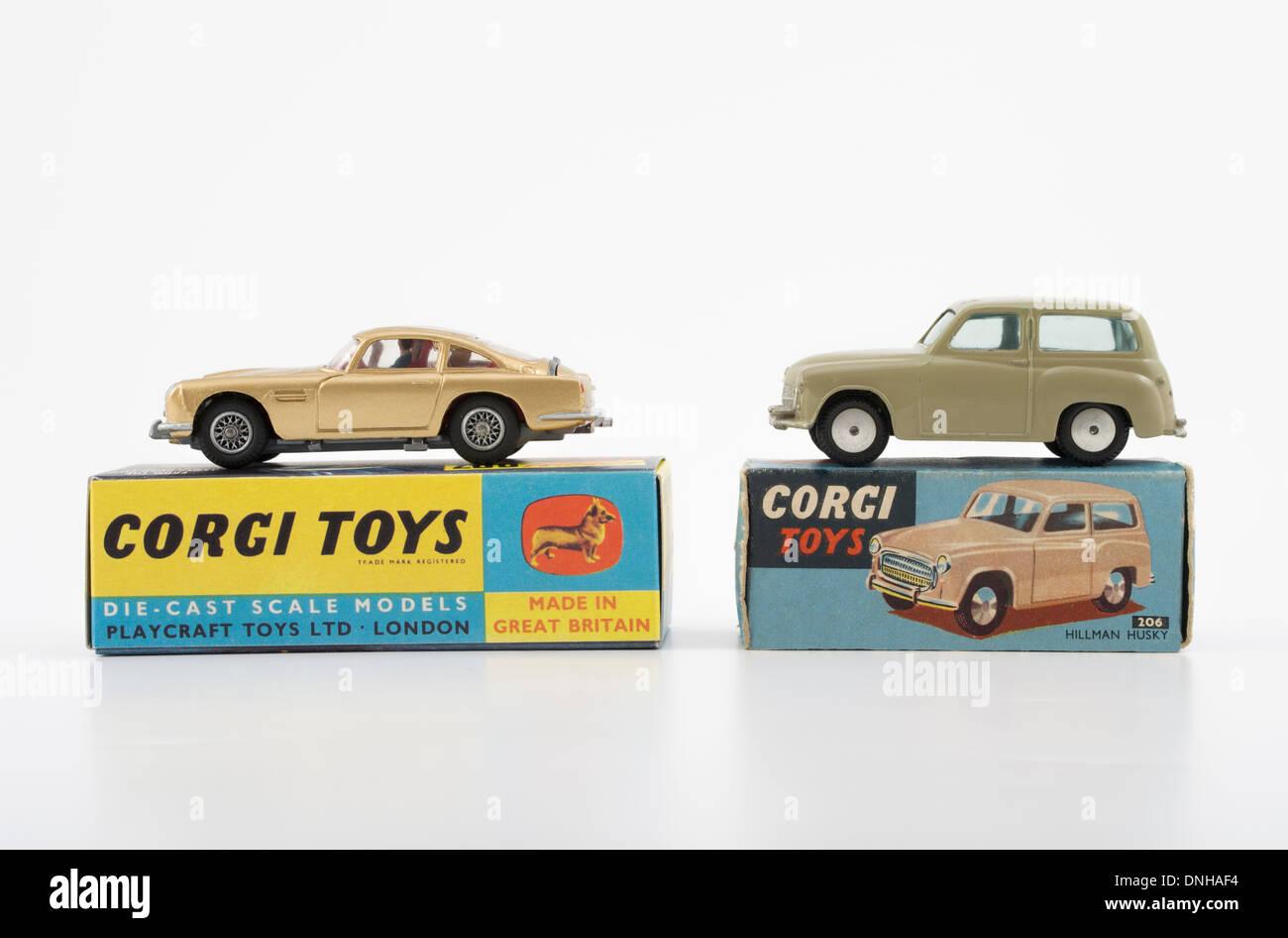 Corgi Toys Die-cast car #261 Goldfinger Aston Martin DB5 #206 Hillman Husky - Stock Image