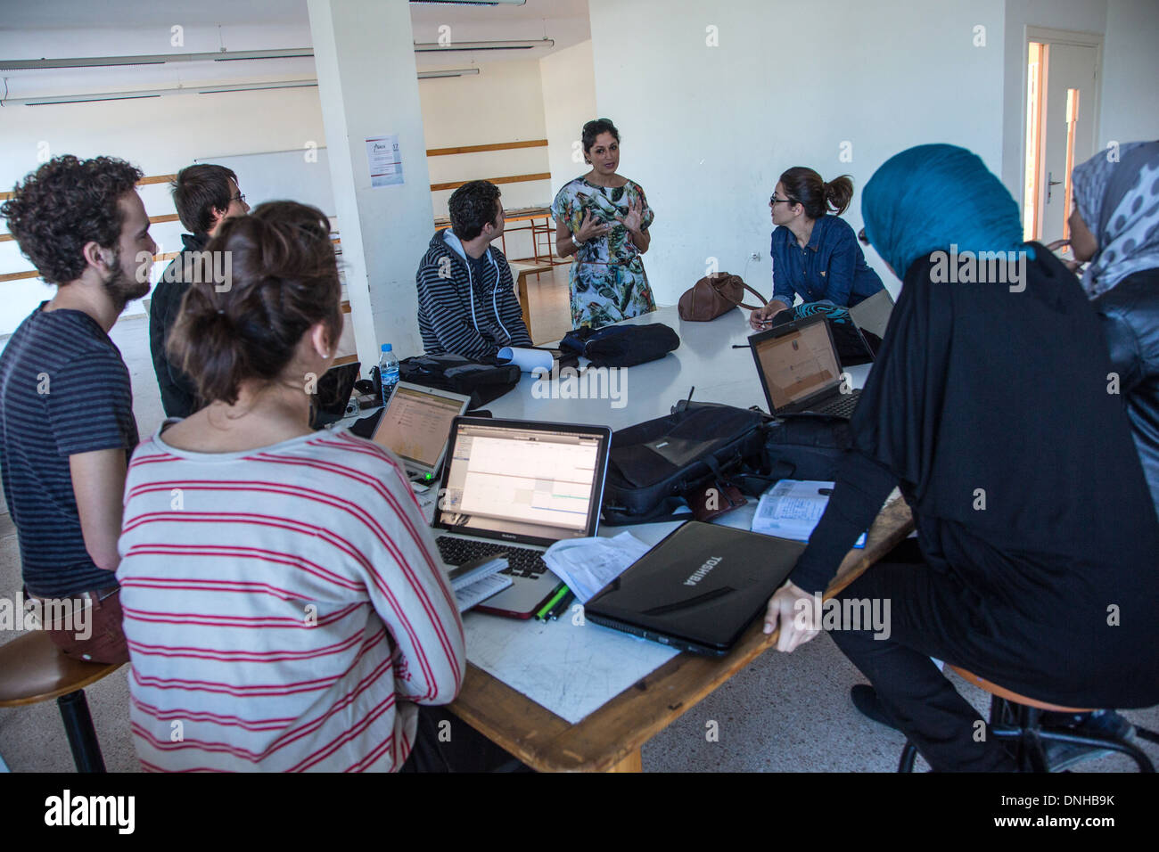 ESTELLE FORGET WITH A GROUP OF STUDENTS PARTICIPATING IN THE THIRD ANNUAL ERGAPOLIS COMPETITION, NATIONAL SCHOOL OF ARCHITECTURE (ENA), RABAT, MOROCCO, AFRICA - Stock Image
