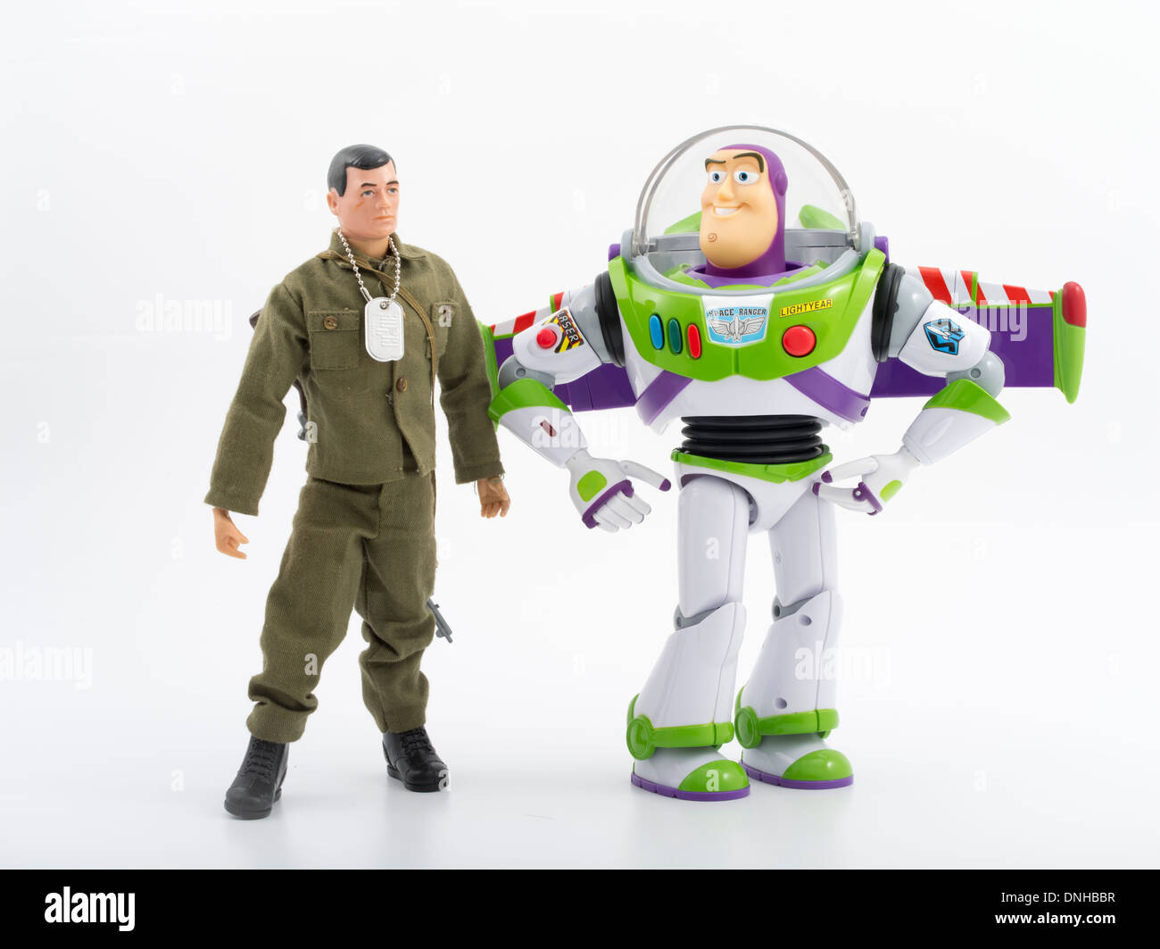 1964 G.I. Joe with 2000's Buzz Lightyear.  Iconic children's toys - Stock Image