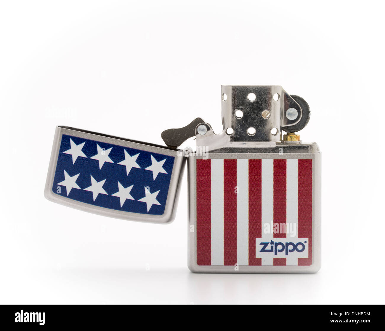 Zippo iconic cigarette lighter made in the USA Stars & Stripes design - Stock Image