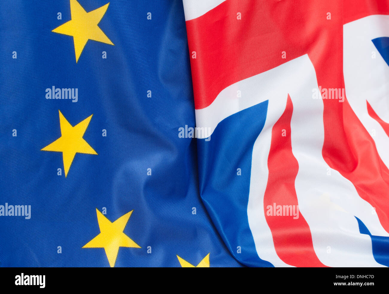 Closeup of Flags of Great Britain and European Union - Stock Image