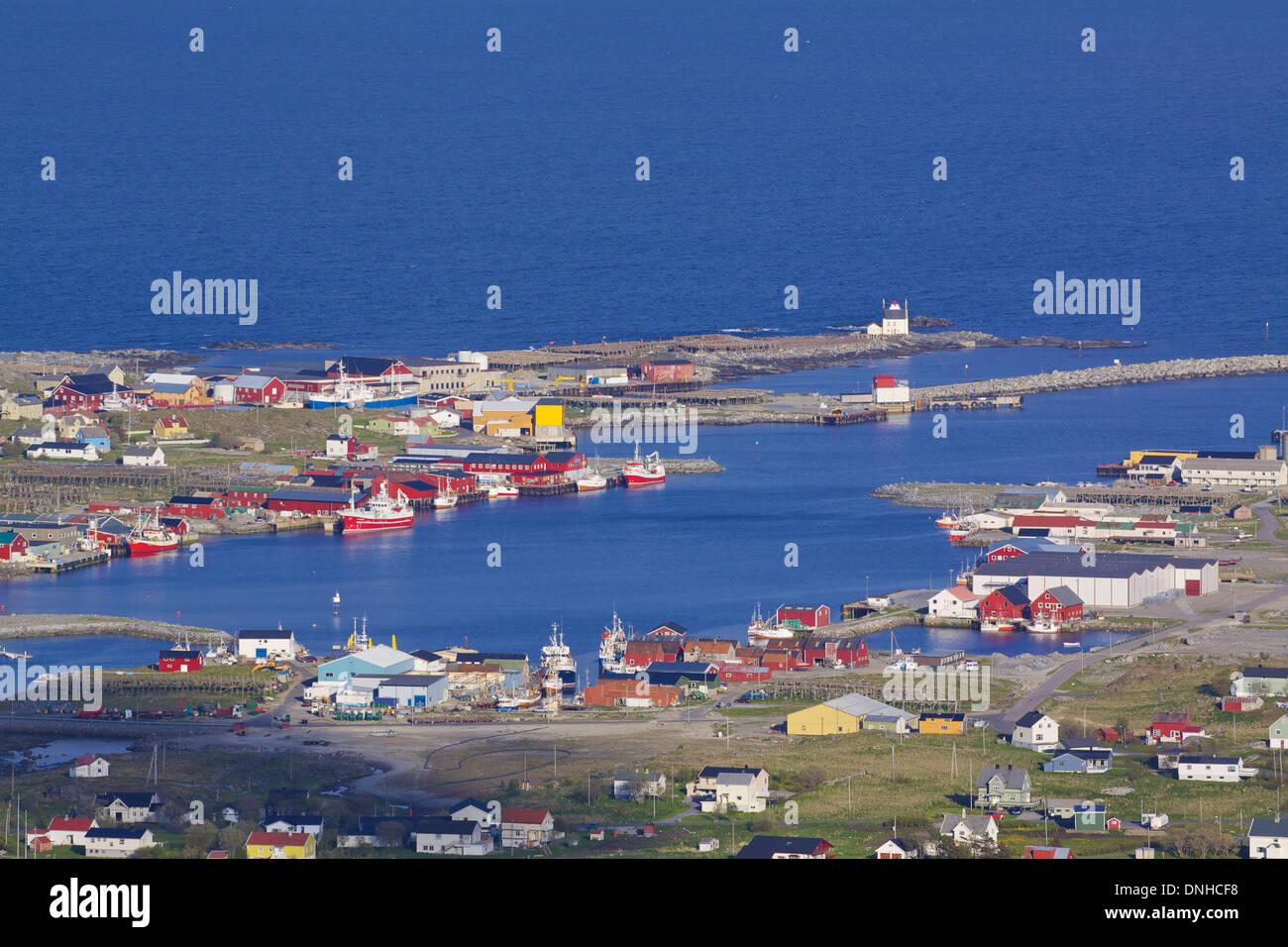 Industrial fishing harbour in town of Sorland on Lofoten islands in Norway - Stock Image