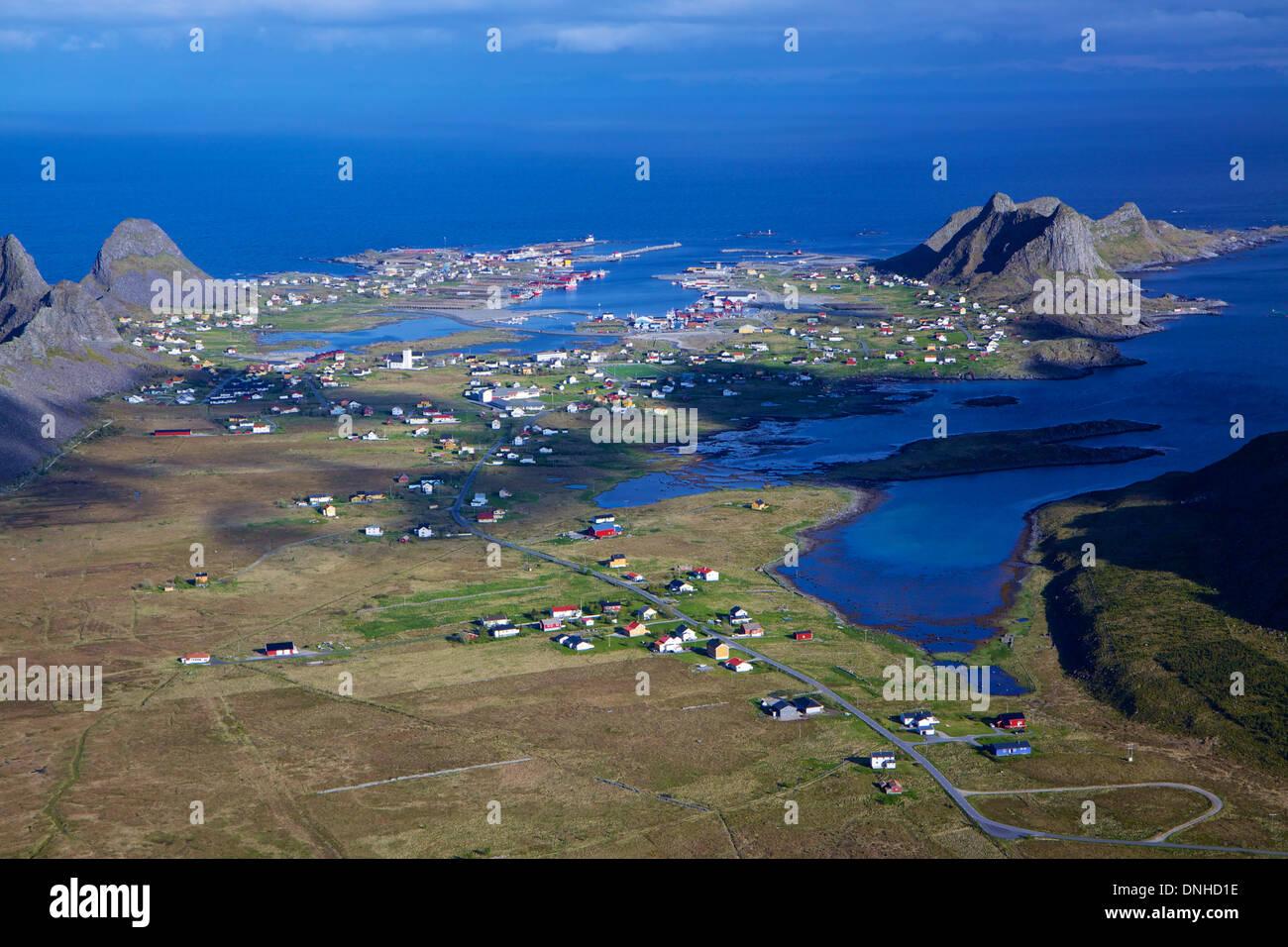 Aerial view of norwegian fishing town of Sorland on island Vaeroy, Lofoten islands - Stock Image