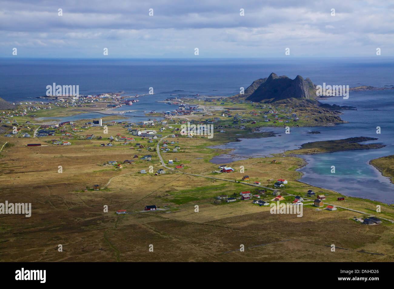 Picturesque norwegian fishing port of Sorland on Lofoten islands - Stock Image