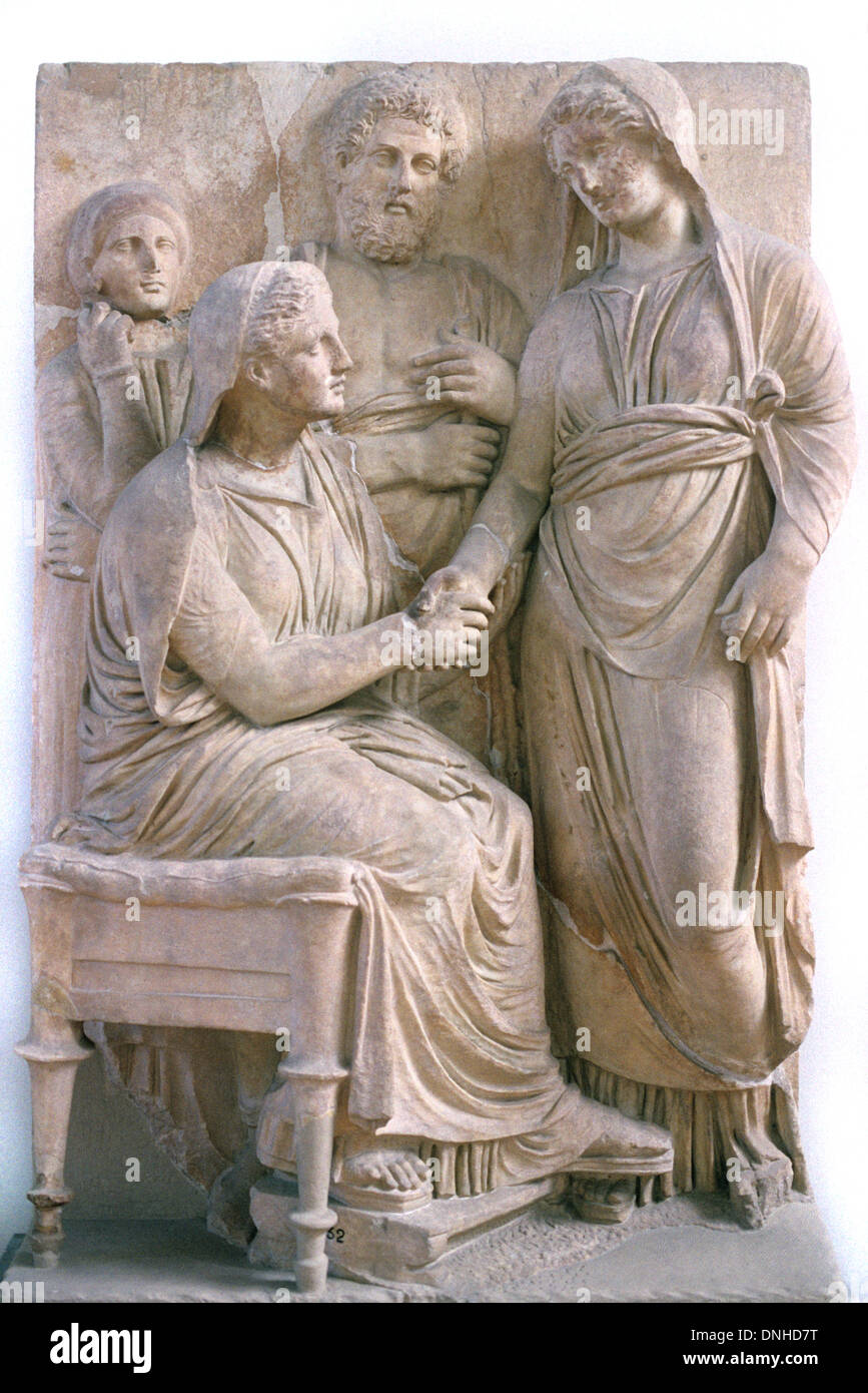 Handshake or dexiosis greeting bas relief on ancient greek grave handshake or dexiosis greeting bas relief on ancient greek grave stone with deceased seated wife c340bc athens greece m4hsunfo