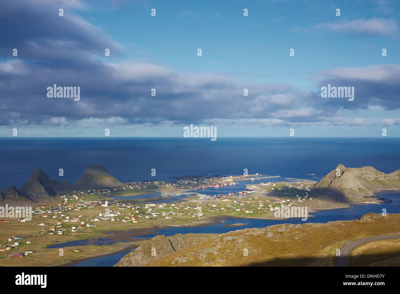 Scenic norwegian town Sorland with colorful houses on island of Vaeroy, Lofoten islands, Norway - Stock Image