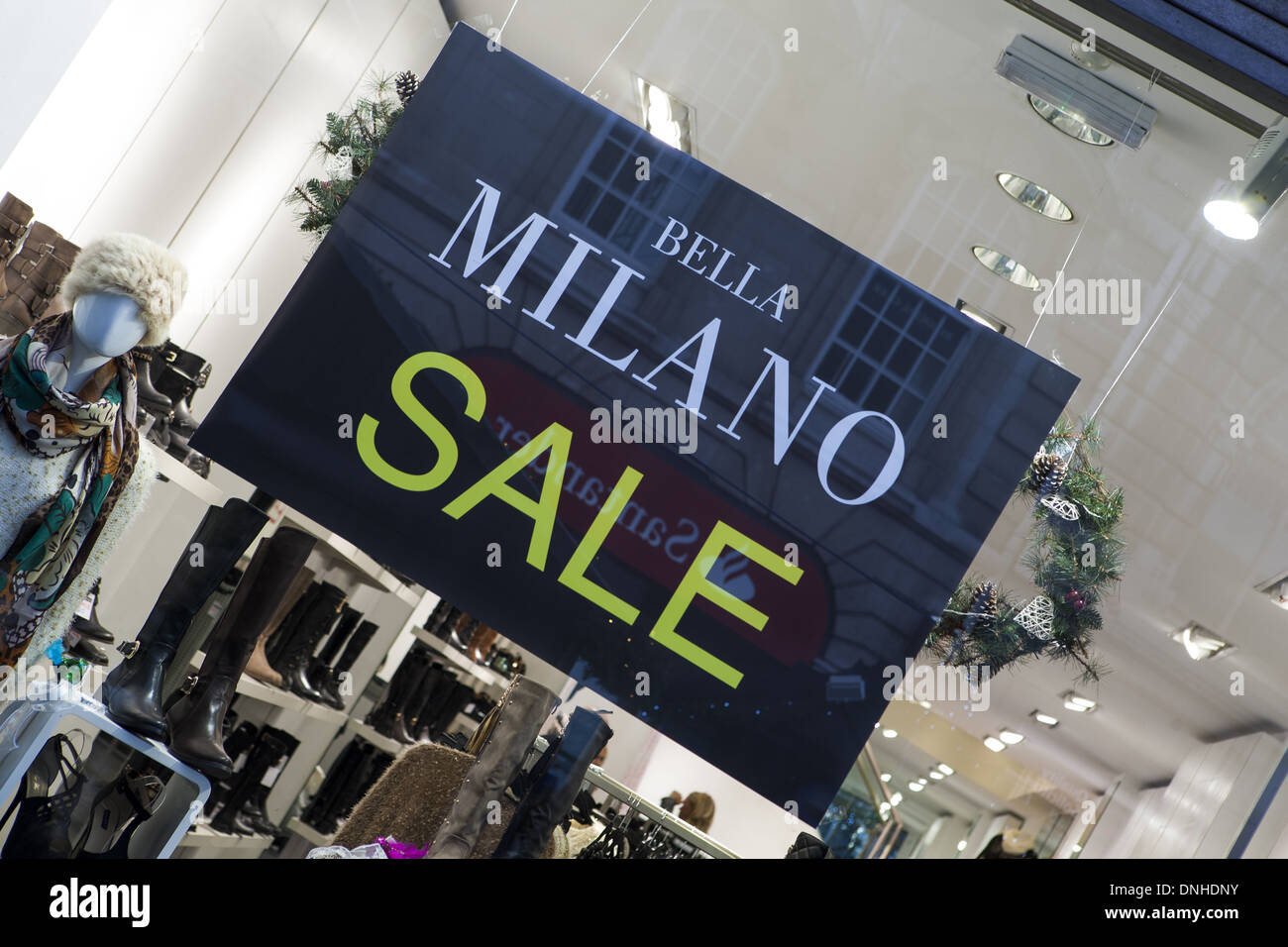 Bella Milano Sale Liverpool One Merseyside, UK  shops and shoppers during festive period, 2013. - Stock Image