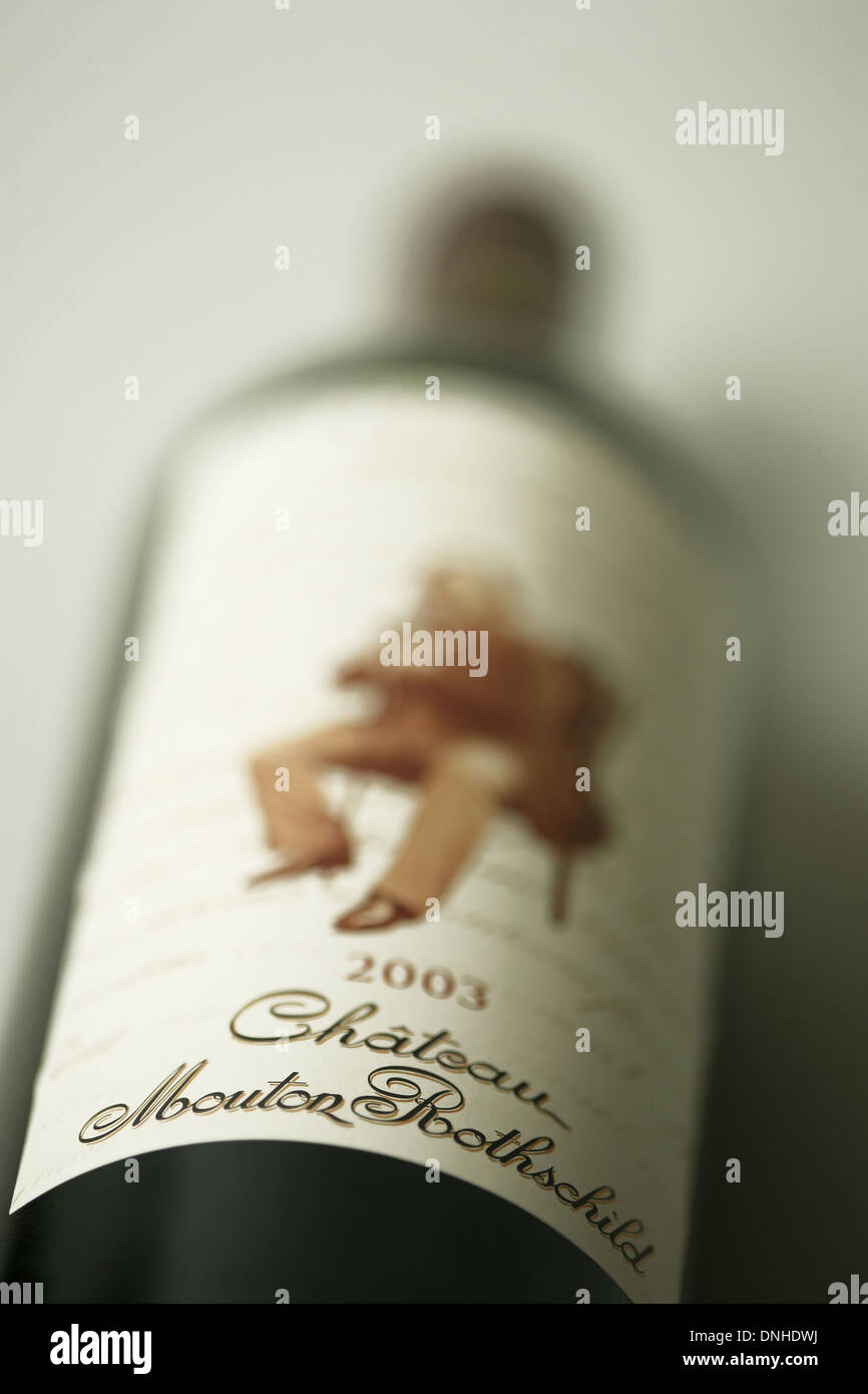 A BOTTLE OF MYTHIC WINE, CHATEAU MOUTON ROTHSCHILD IS THE PREMIER GRAND CRU OF THE WINES OF BORDEAUX, PAUILLAC - Stock Image
