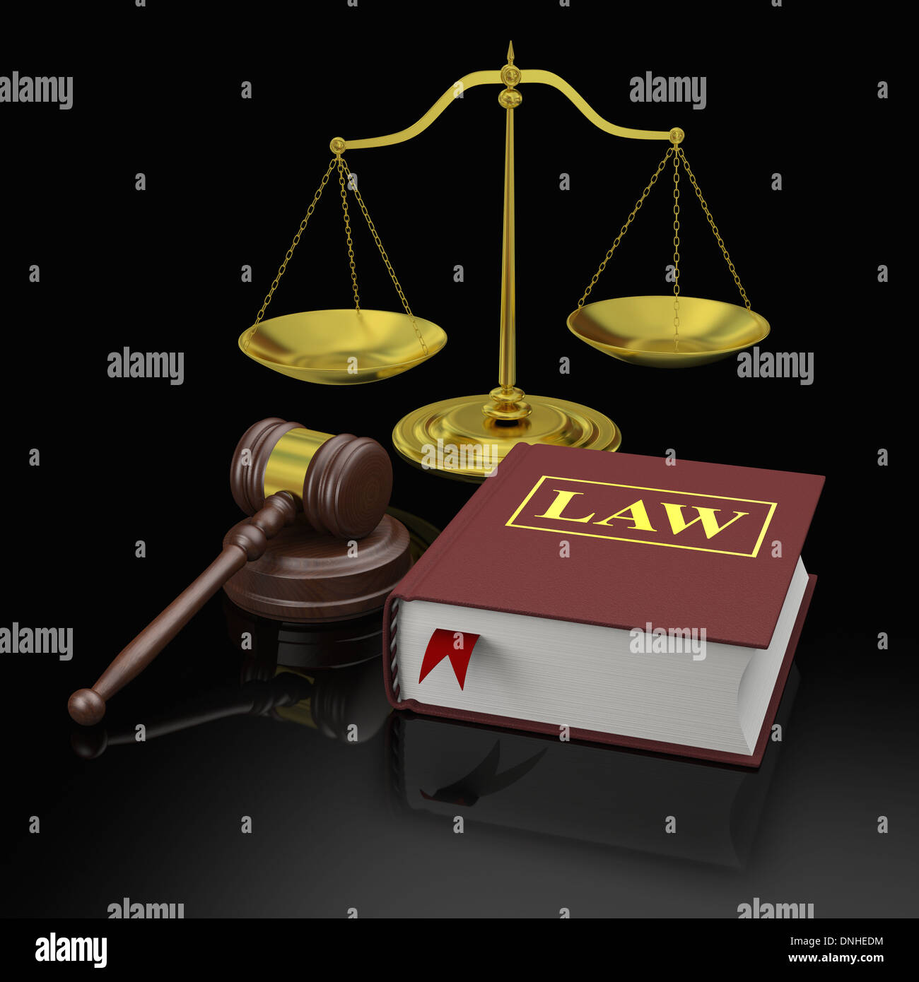 Gavel, scale and law books, symbols of law and legal education - Stock Image