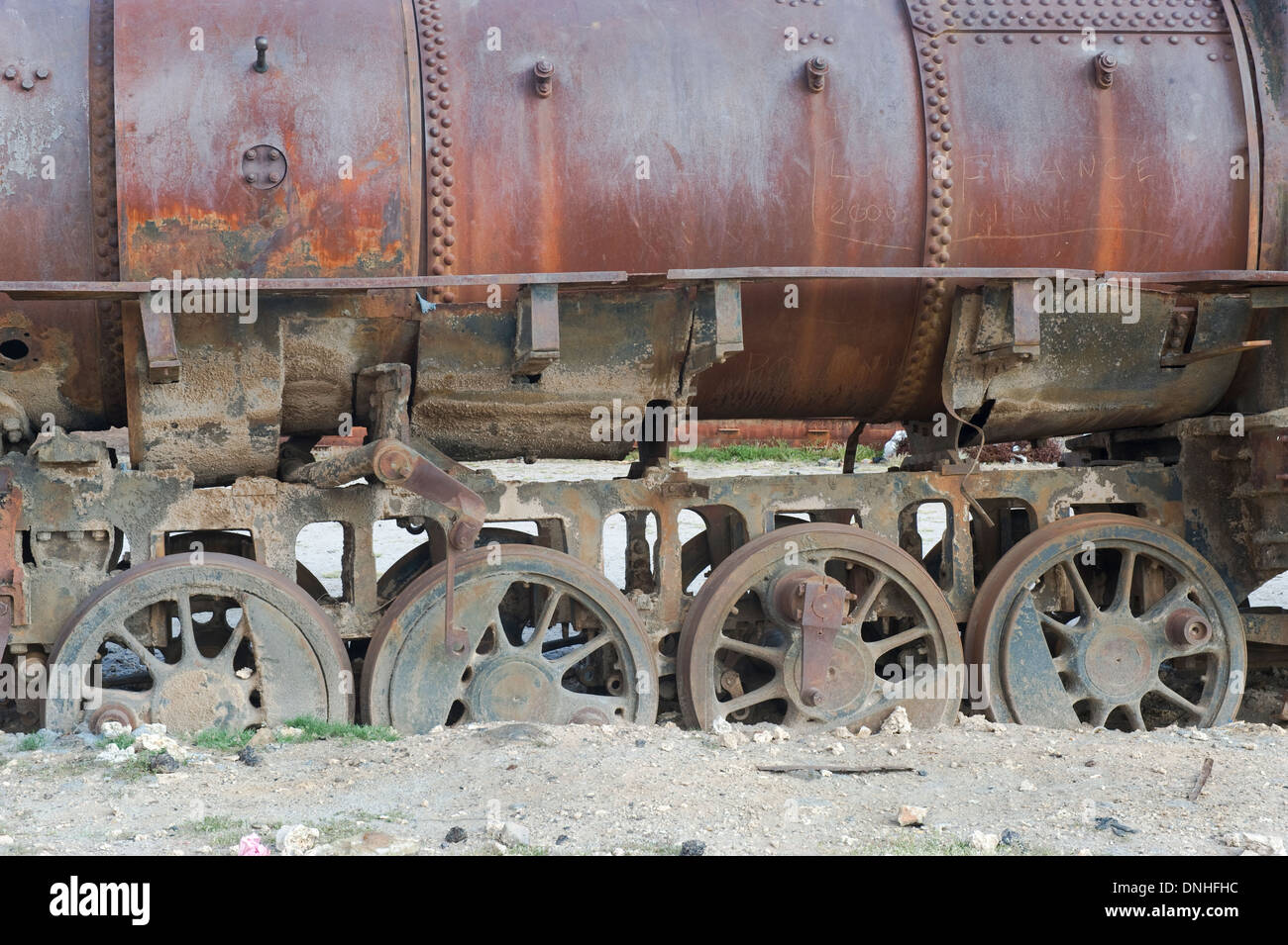 Uyuni Train cemetery, Altiplano, Potosi, Bolivia - Stock Image