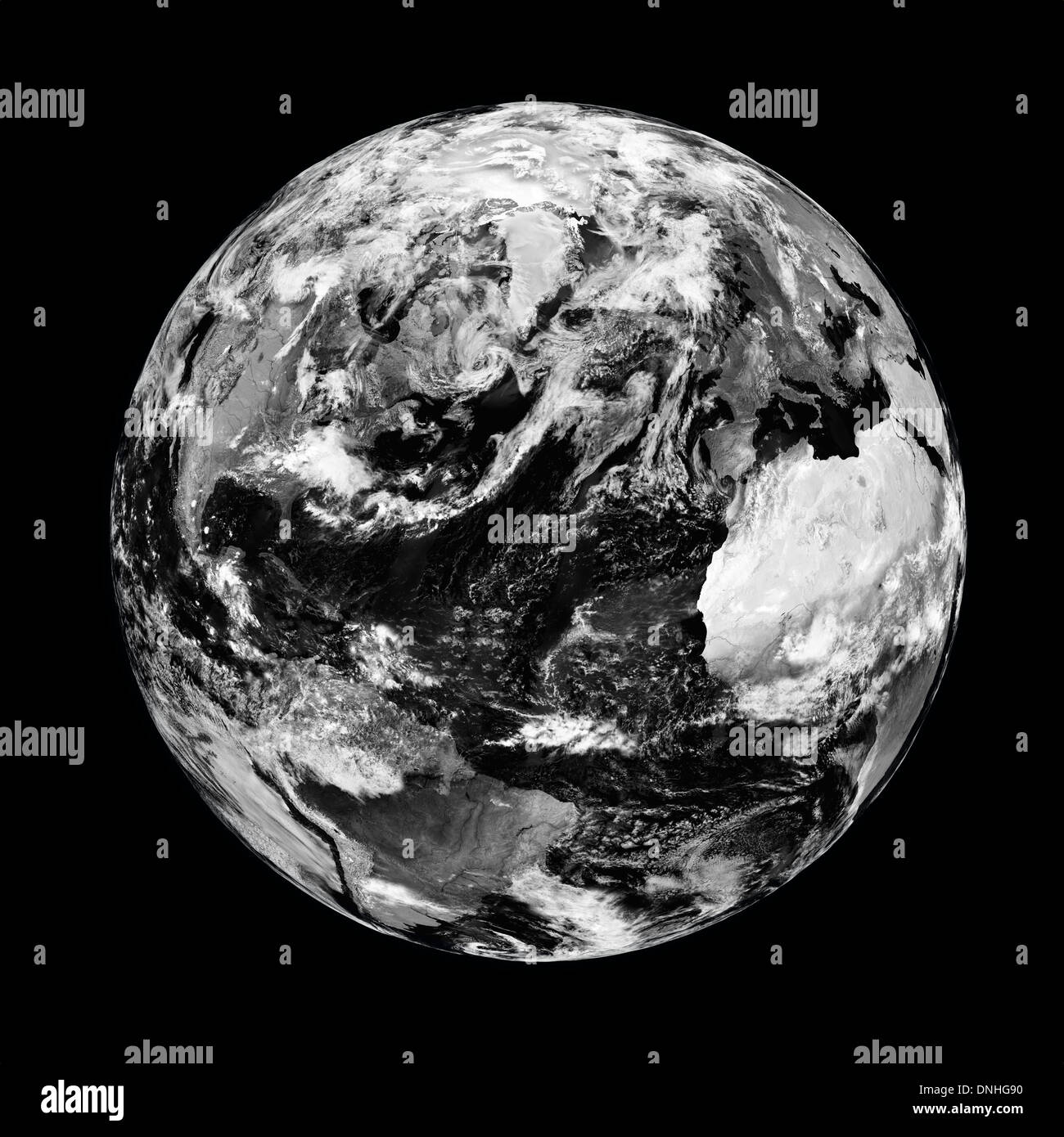 Black planet Earth with clouds isolated on black background. Elements of this image furnished by NASA. - Stock Image