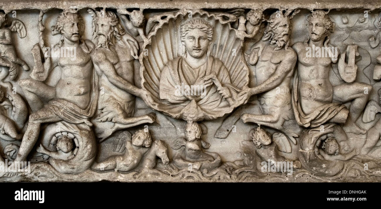 Roman sarcophagus with the representation of sea creatures 230 AD Rome Italy - Stock Image