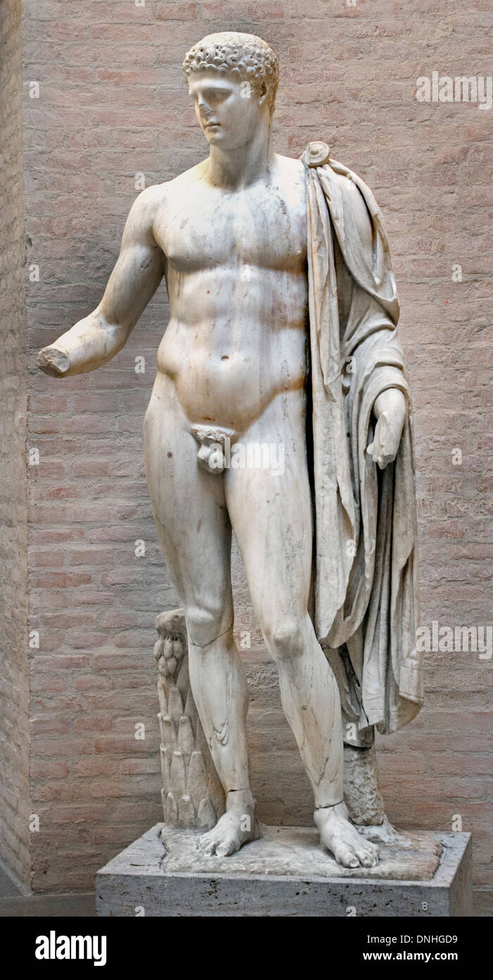 Hermes Roman copy 100 AD after Greek original ( Olympian god in Greek religion and mythology son of Zeus ) - Stock Image