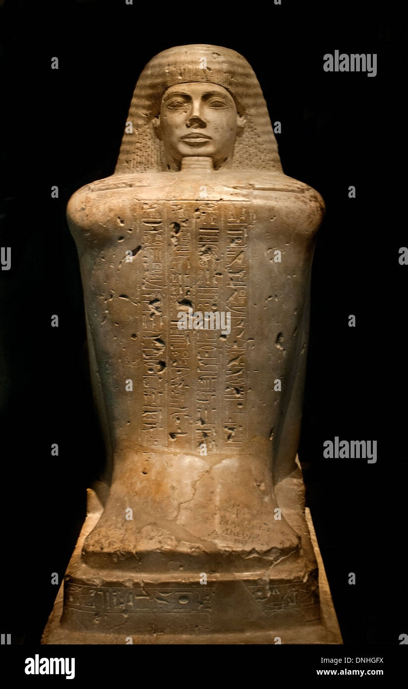 Block statue of the priest of Amun Bakenkhonsu 19 Dynasty 1320 BC  Egypt Egyptian - Stock Image