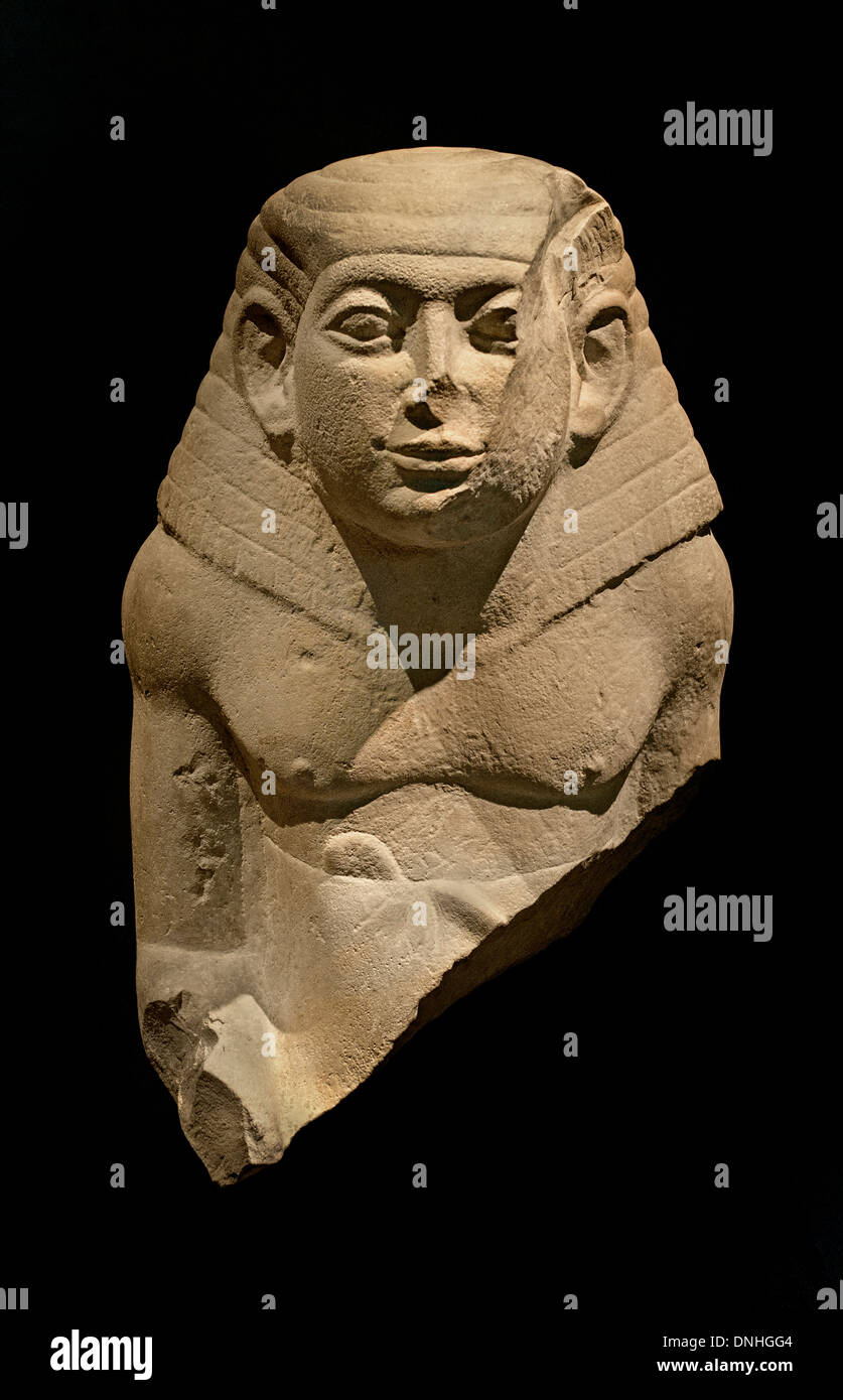 Upper Part of a squatting figure 13 Dynasty 1750 BC  Egypt Egyptian - Stock Image