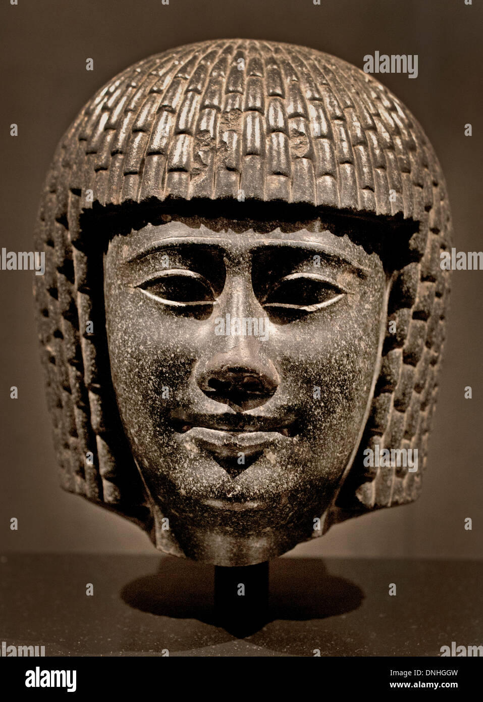 Head from a priest Ptolemaic 300 BC Egypt Egyptian - Stock Image