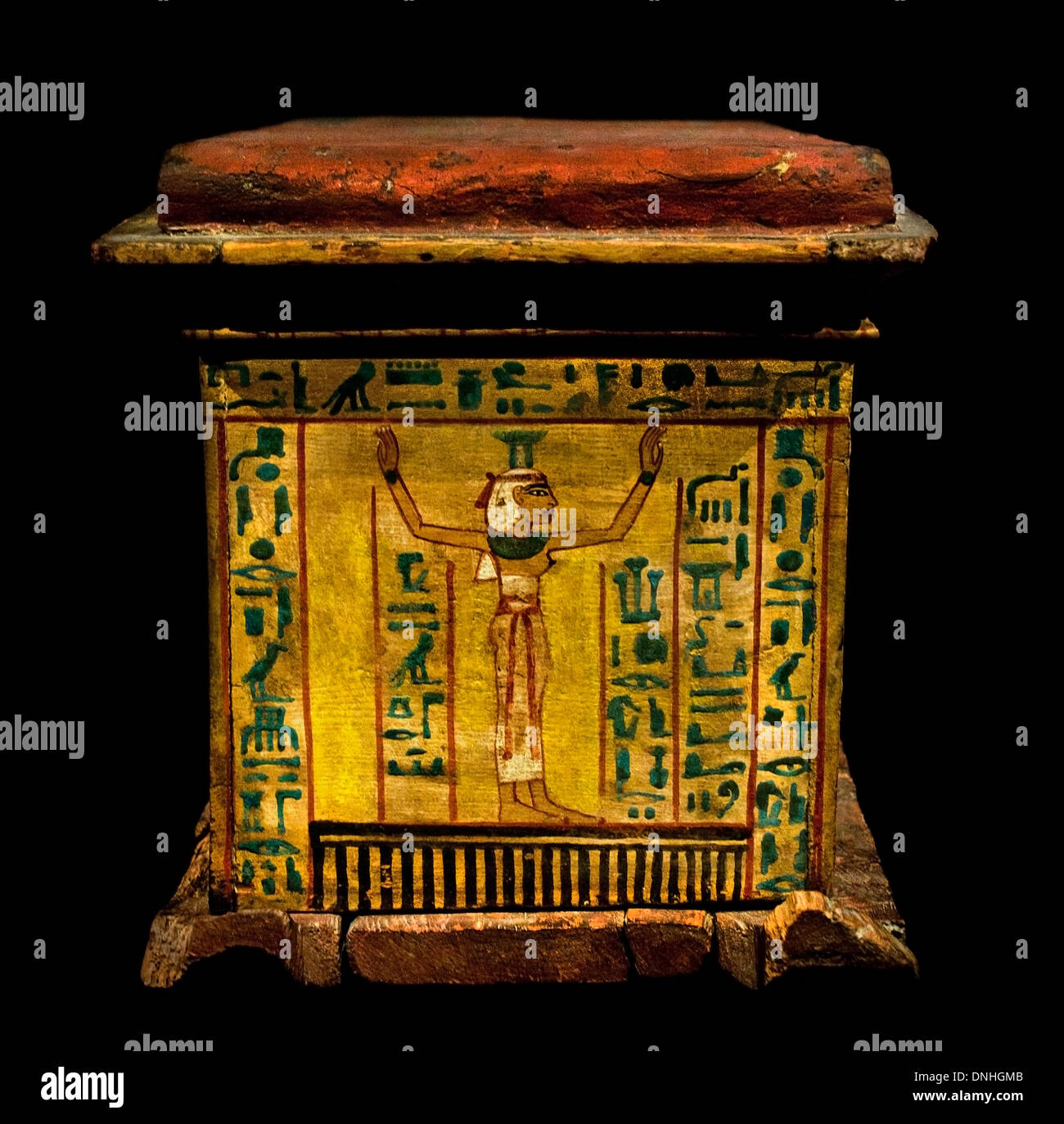 Coffin Little girl  Nefretiri is in the shape of a divine shrine - goddess Nephthys protects the deceased 1220 BC Egypt Egyptian - Stock Image