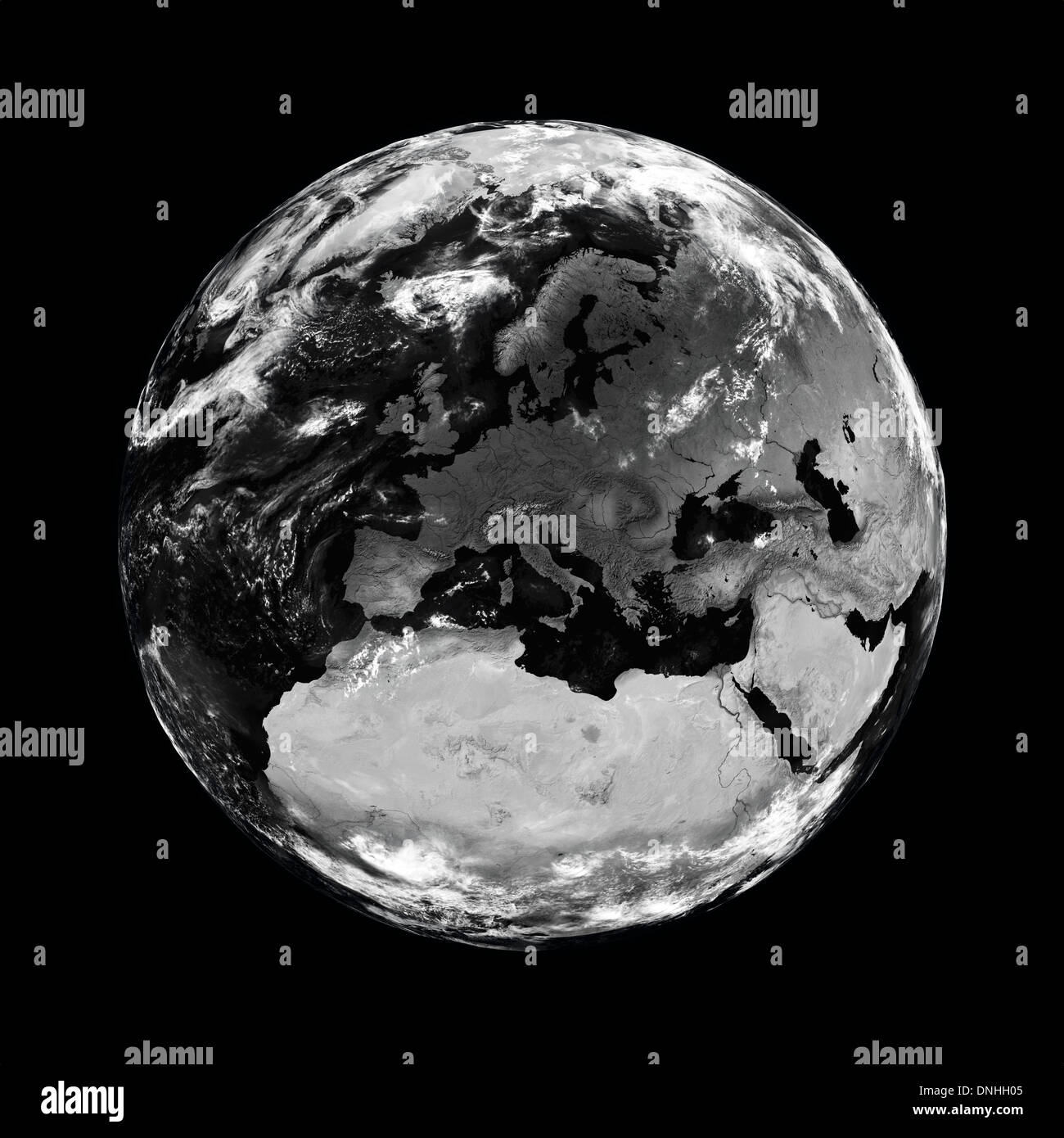 Europe on black planet Earth isolated on black background. Elements of this image furnished by NASA. - Stock Image